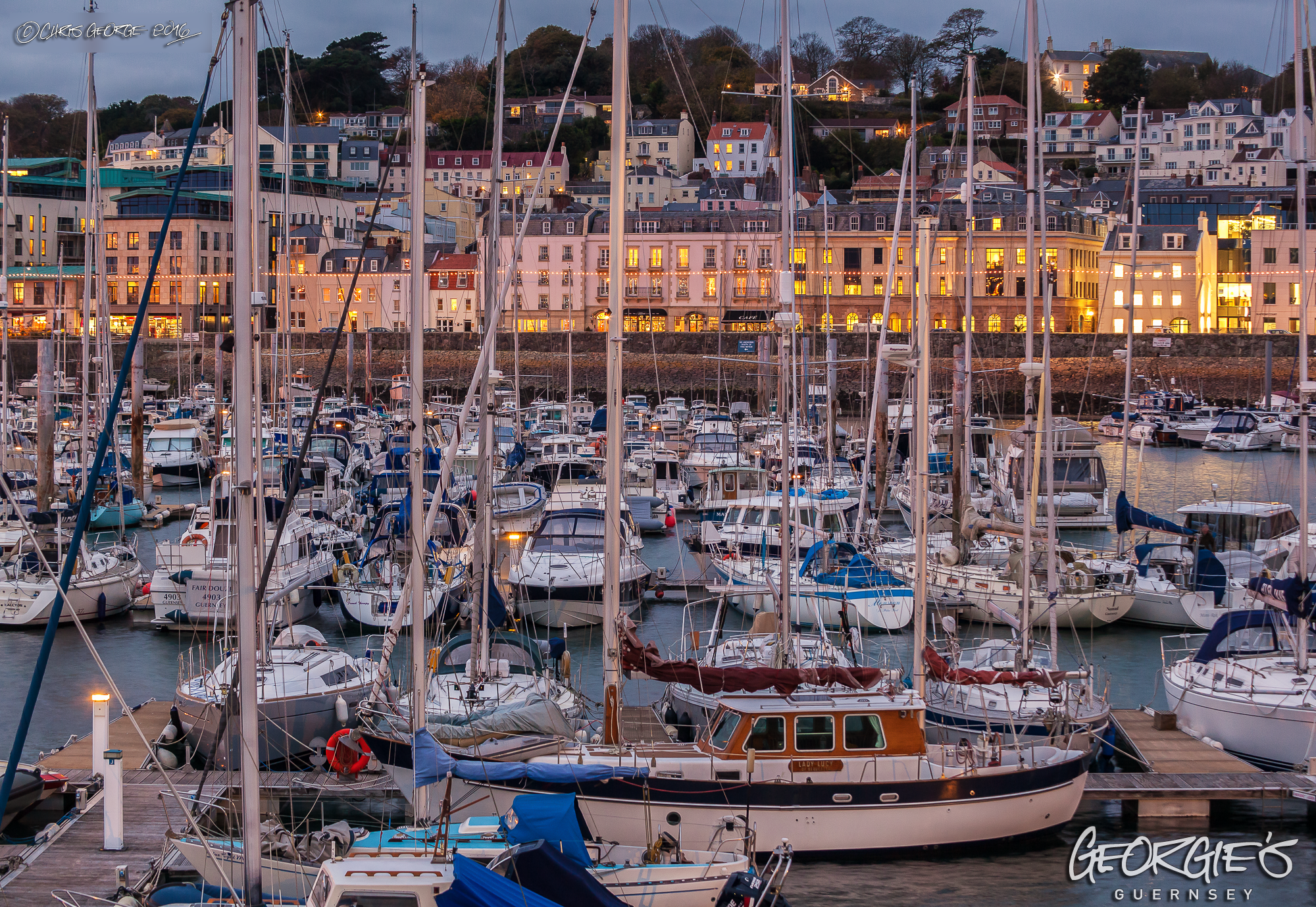 Looking across the QEII Marina from the east arm Guernsey Harbours ...