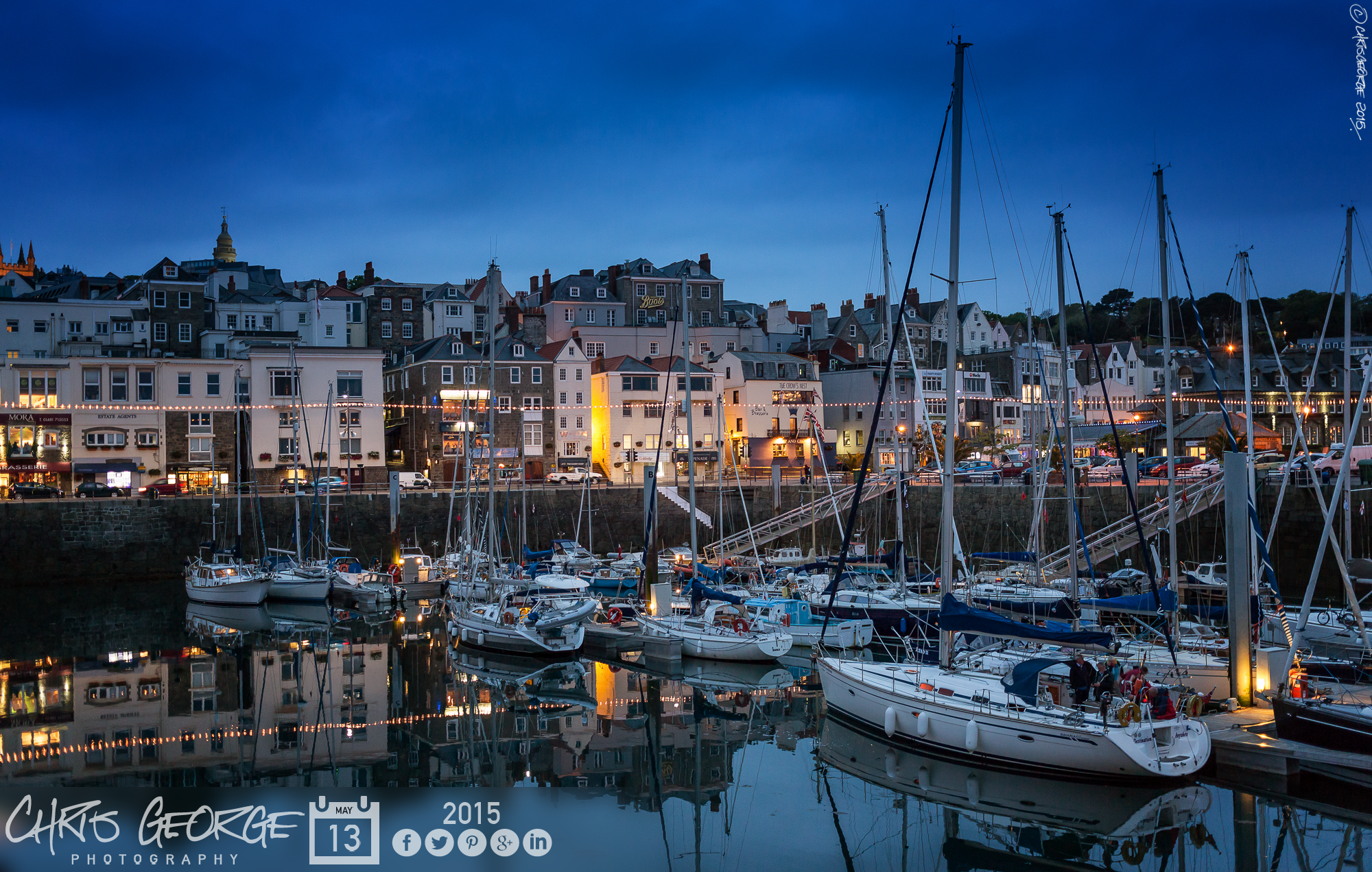 Still waters in the Victoria Marina at dusk. #LoveGuernsey Link to ...
