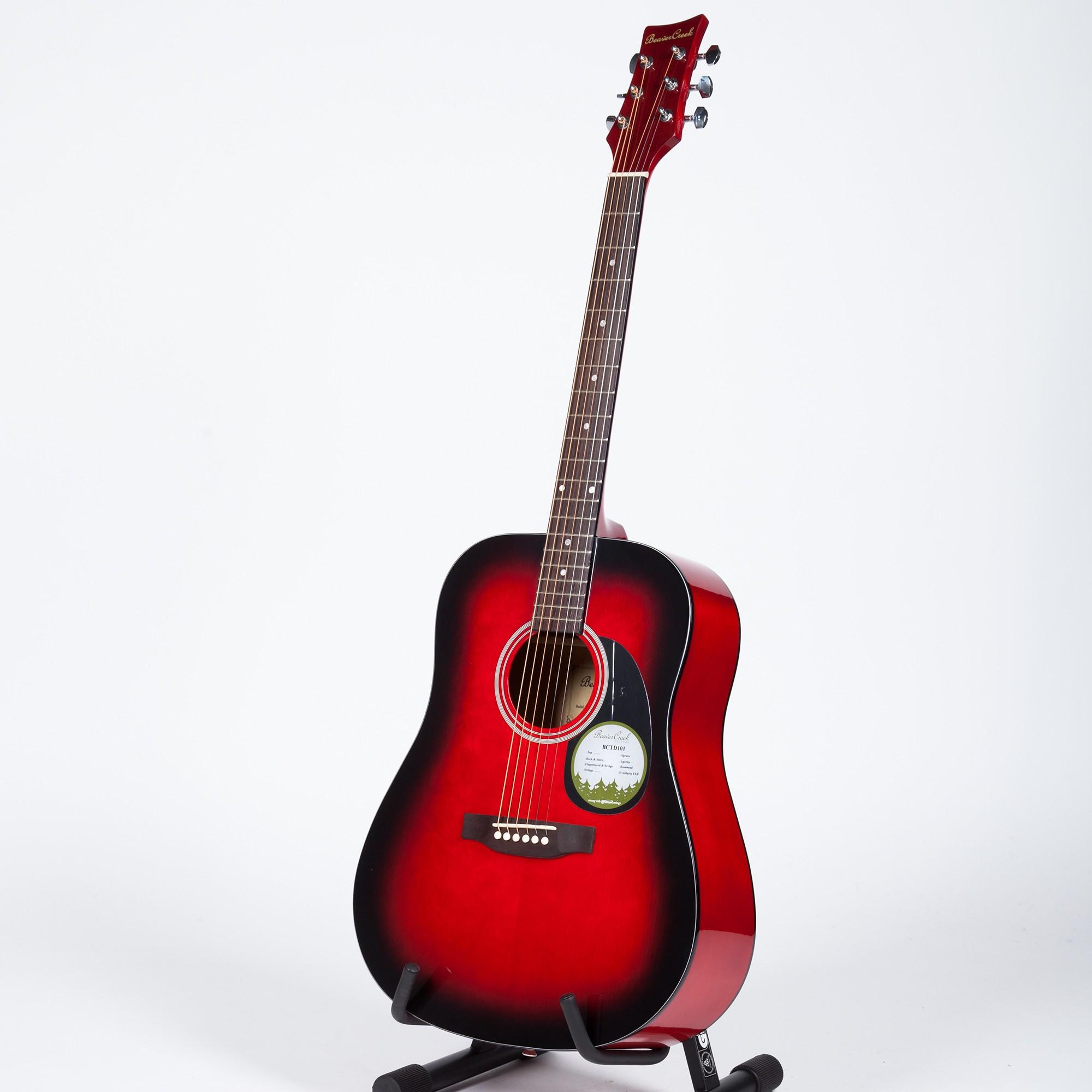 BeaverCreek BCTD101 Dreadnought Acoustic Guitar - Redburst ...