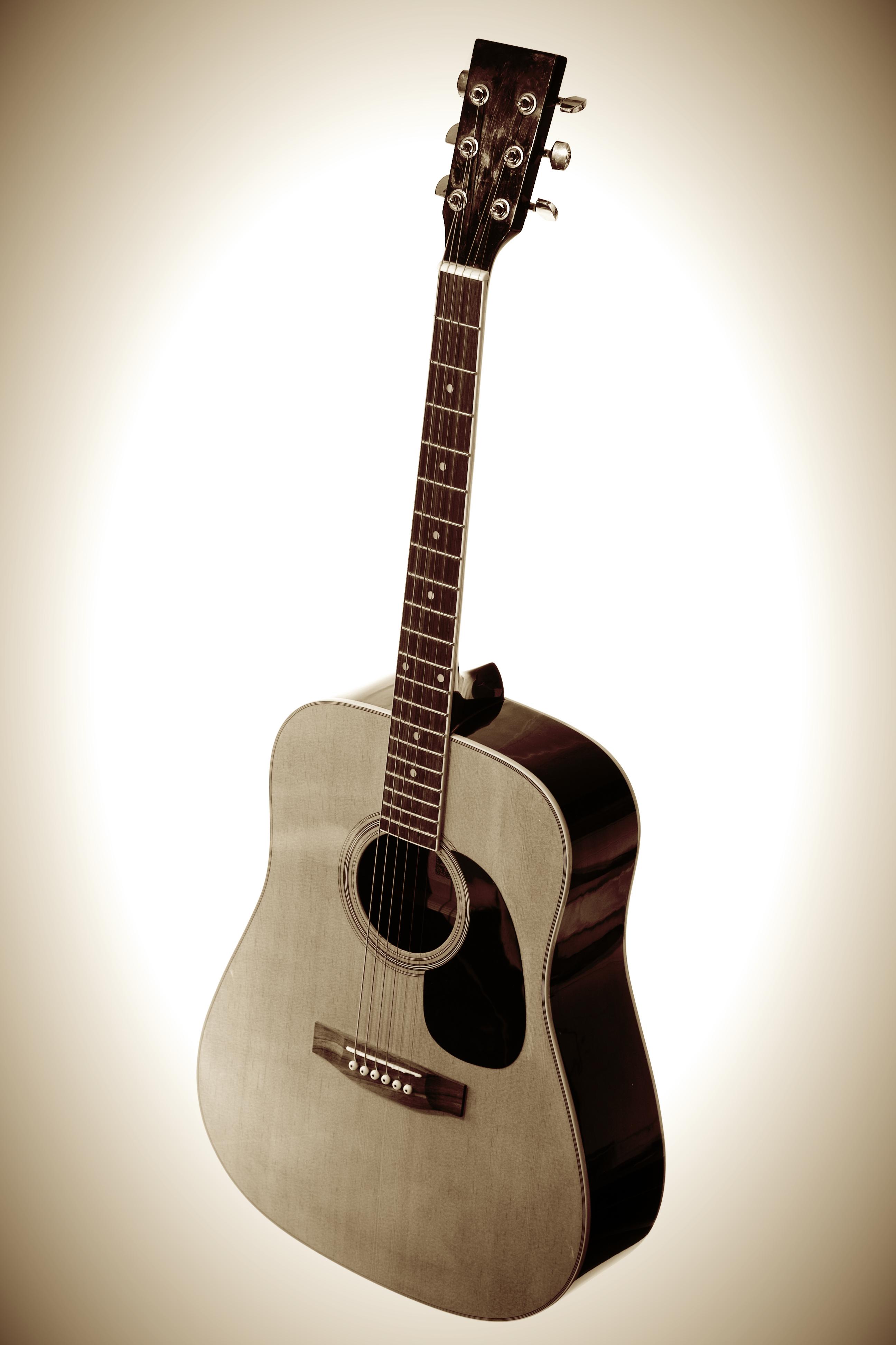 Guitar, Sepia, HQ Photo