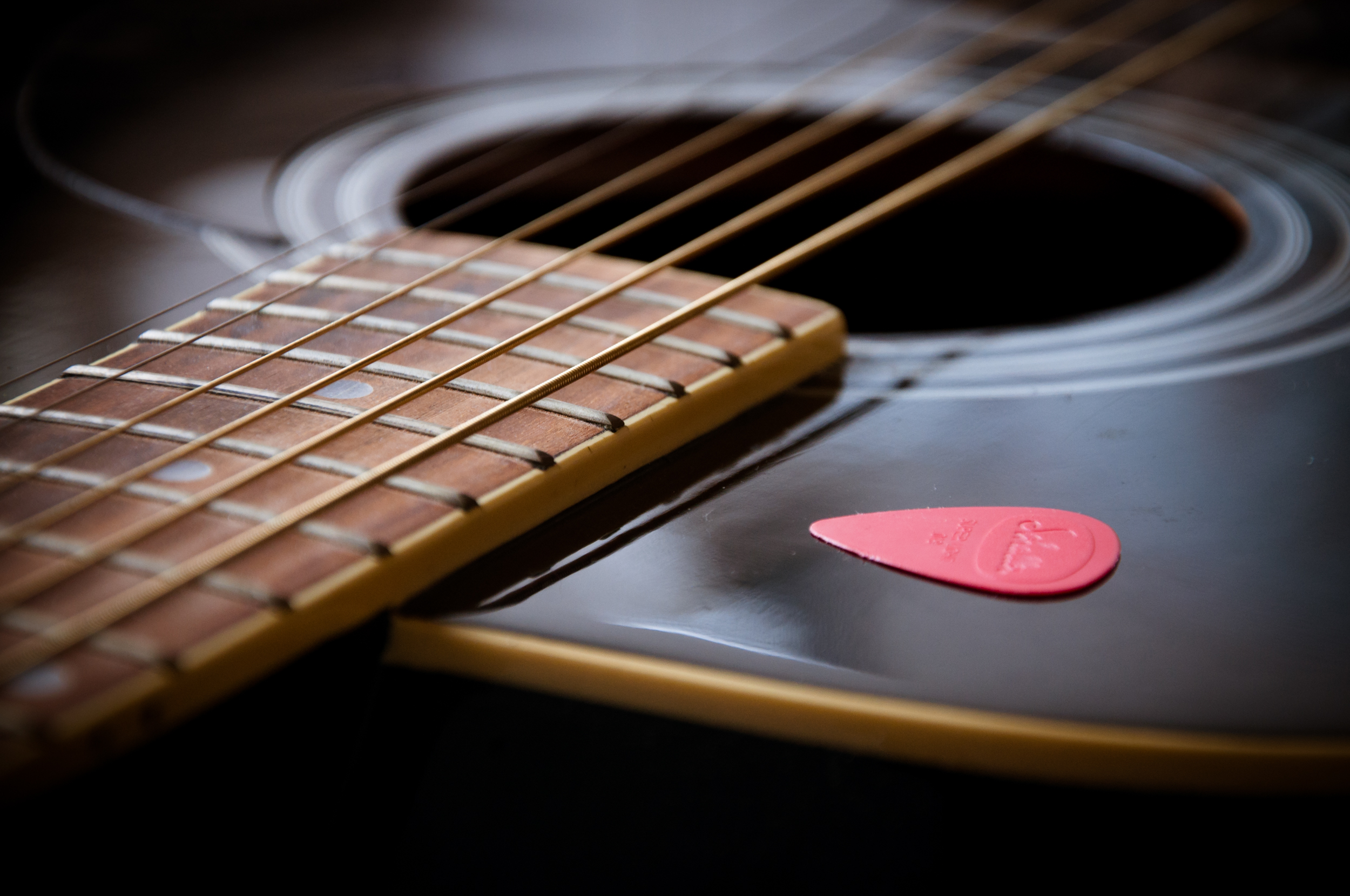 Guitar close up with pick, Rock, Parts, Pick, Play, HQ Photo