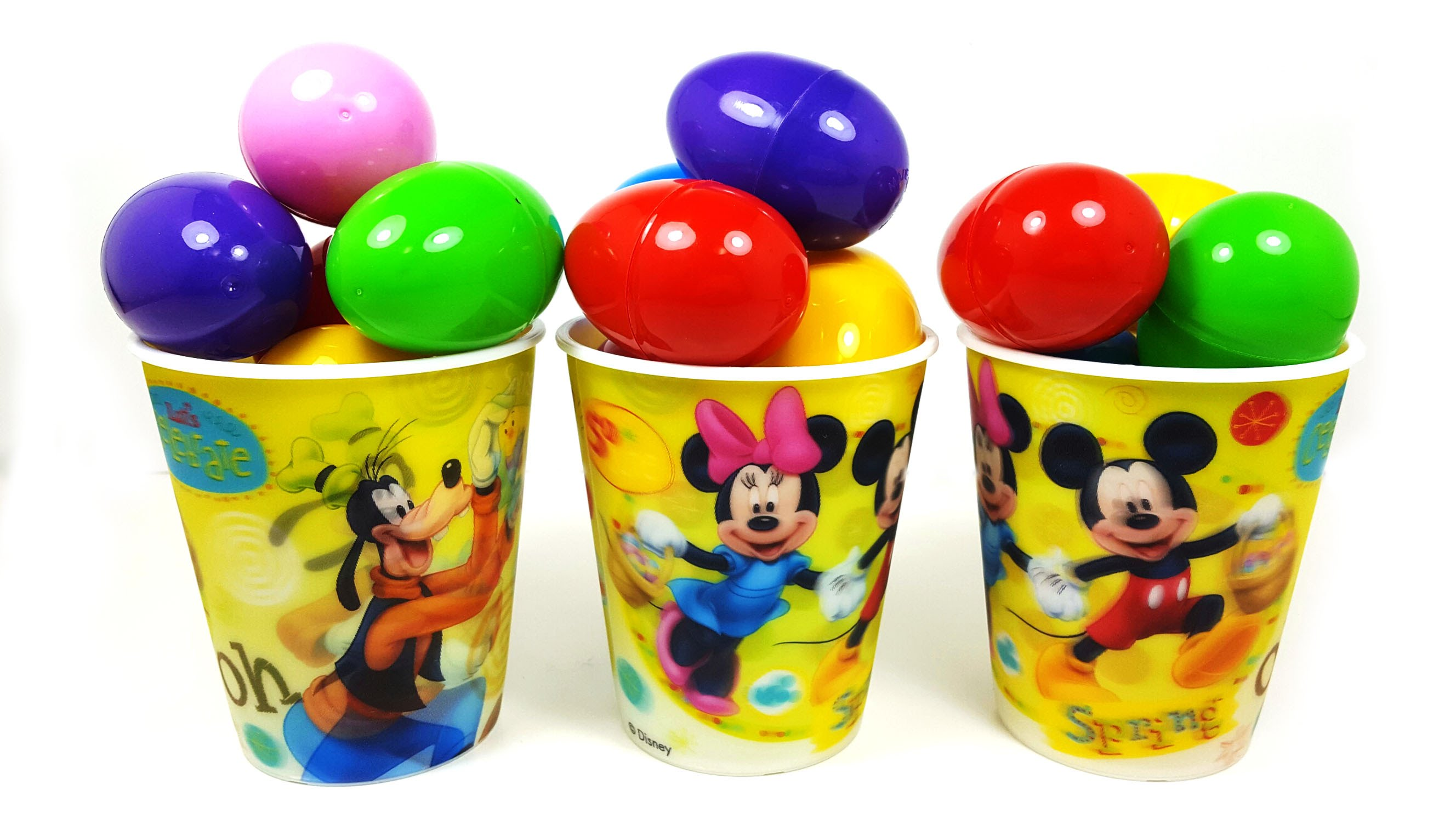Learn Colors Bubble Gum Mickey Mouse Cup Surprise Eggs My Little ...