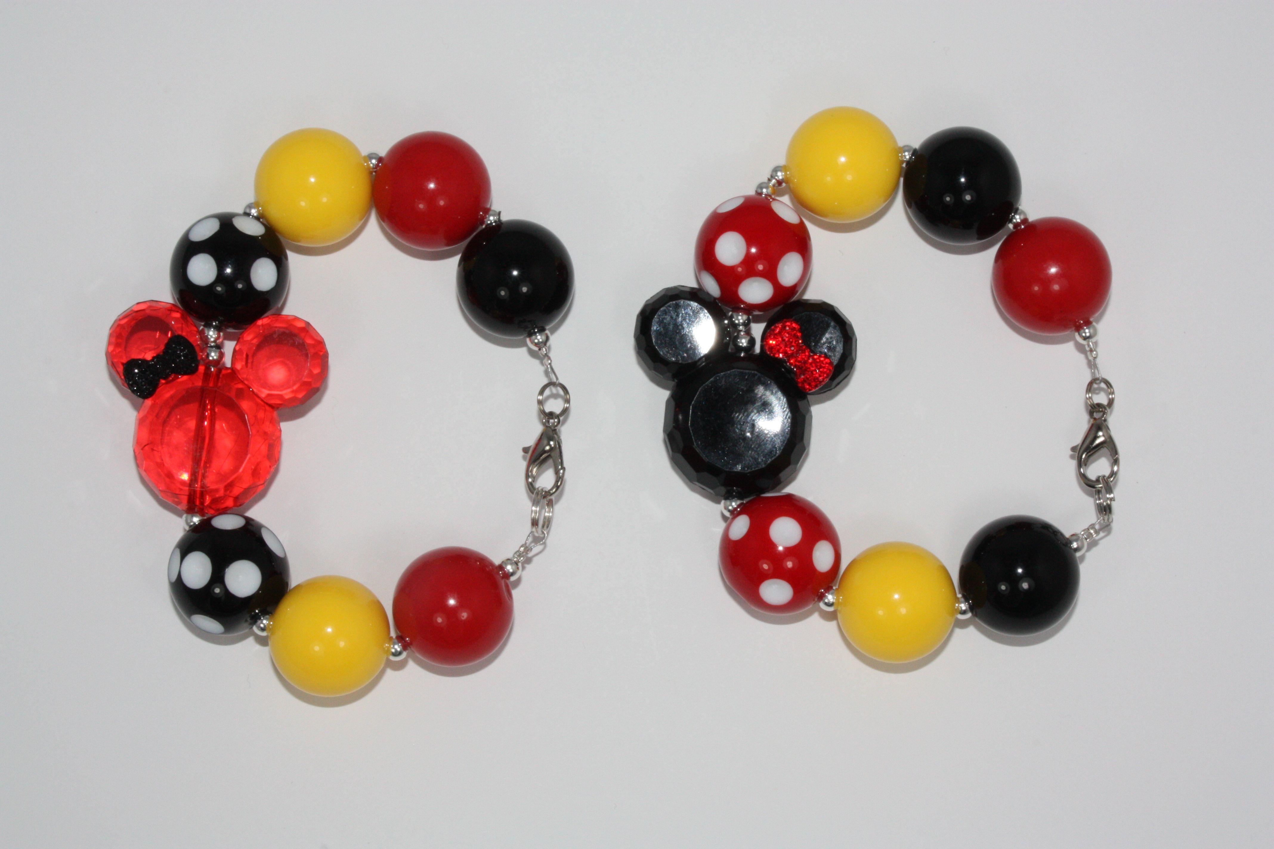 Minnie/Mickey Mouse Bubble Gum Bead Bracelet www.facebook.com ...