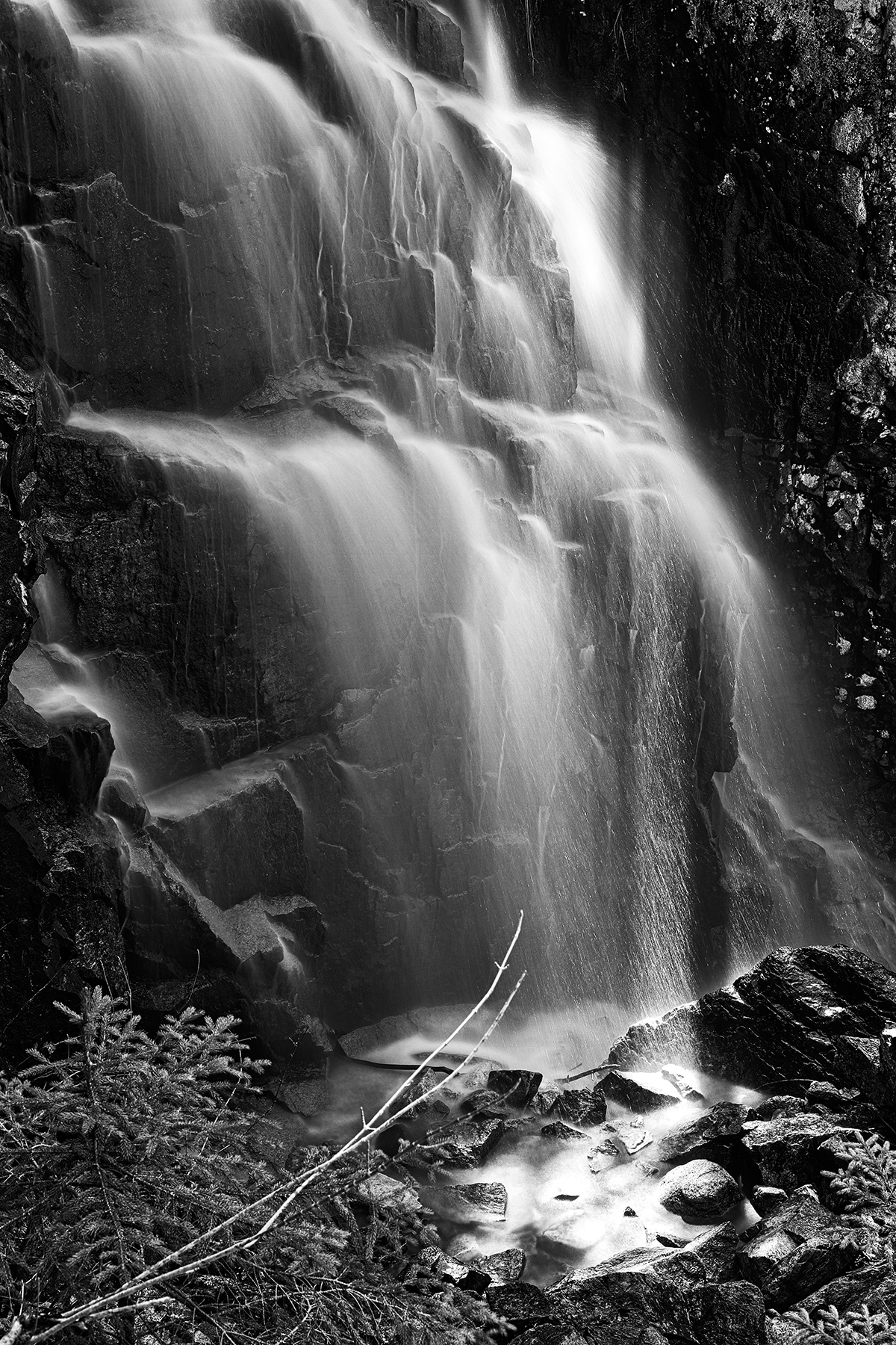 Hadlock sunbeam falls - black & white photo