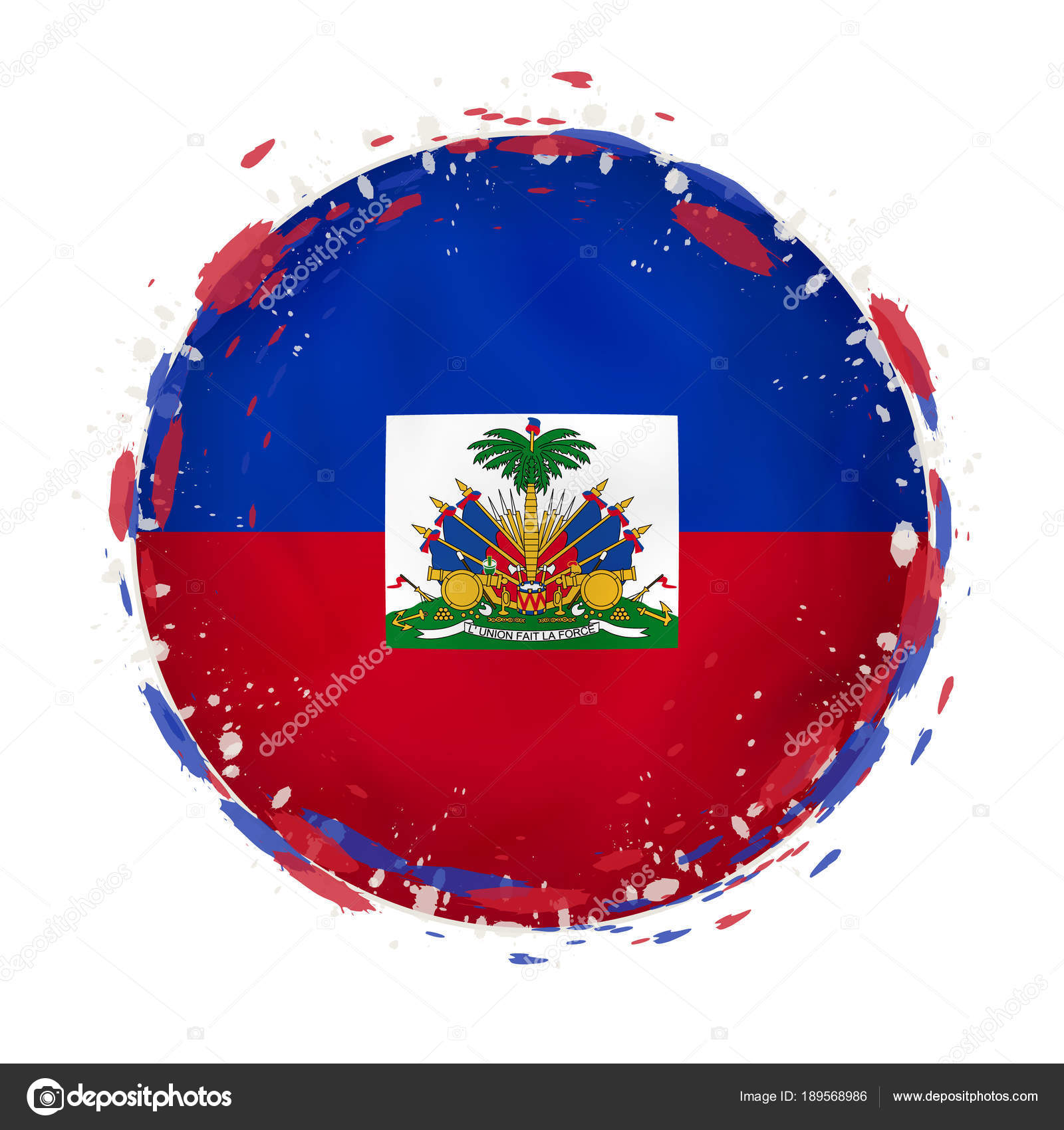 Round grunge flag of Haiti with splashes in flag color. — Stock ...