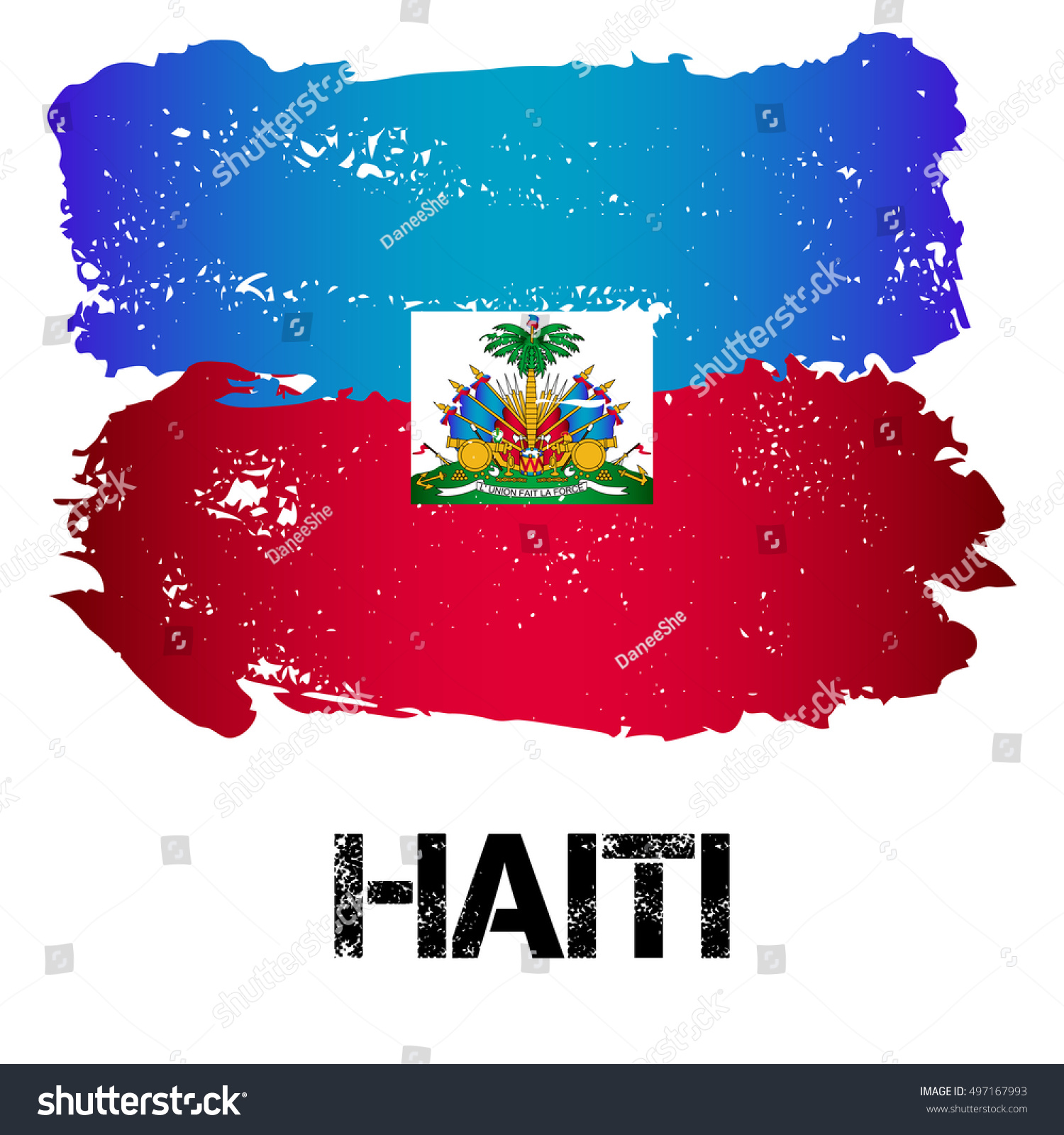 Flag Haiti Brush Strokes Grunge Style Stock Vector 497167993 ...