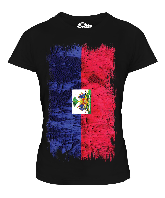 HAITI GRUNGE FLAG LADIES T-SHIRT TEE TOP HAITI HAITIAN AYITI SHIRT ...