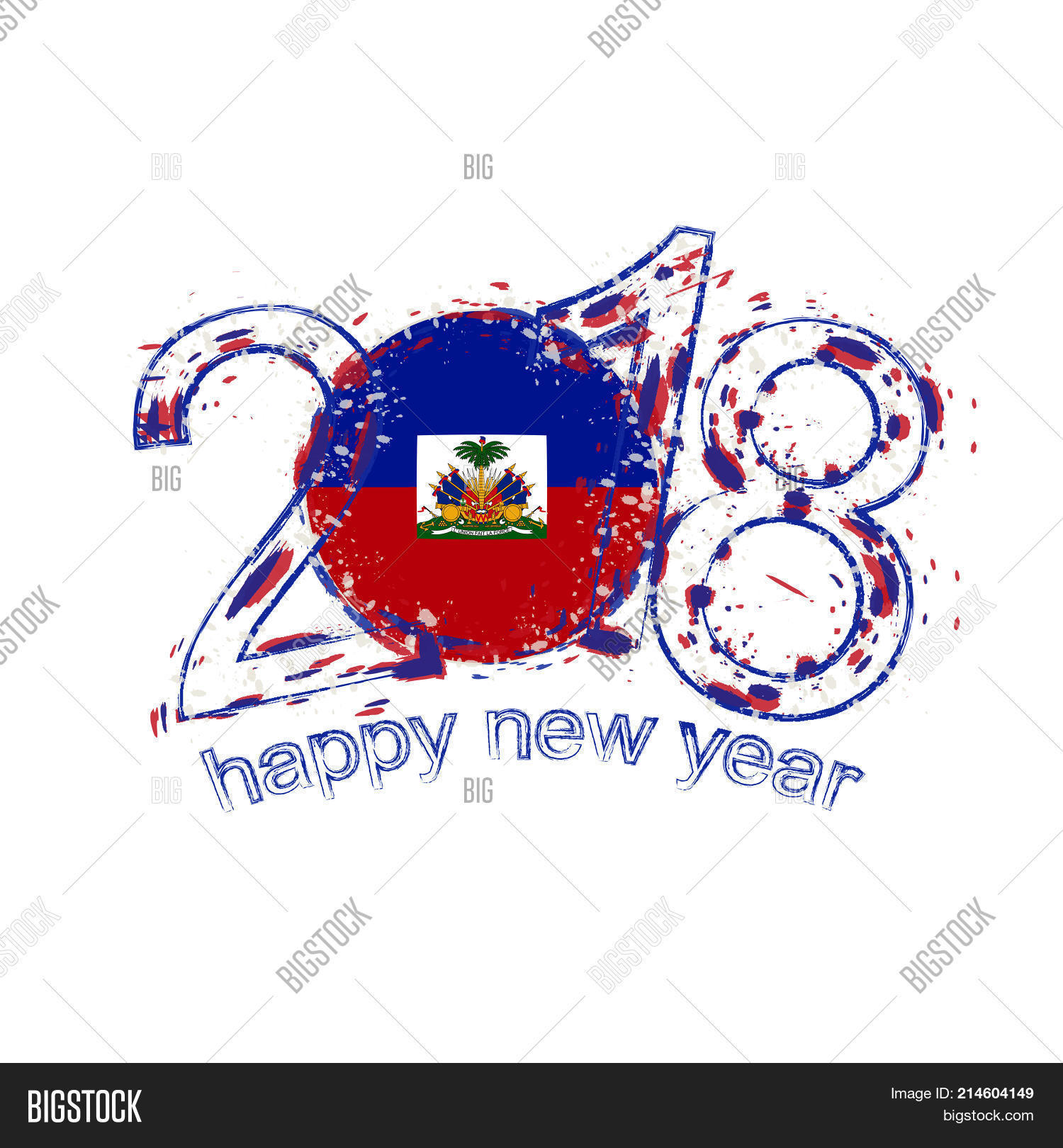 2018 Happy New Year Haiti Grunge Vector & Photo | Bigstock