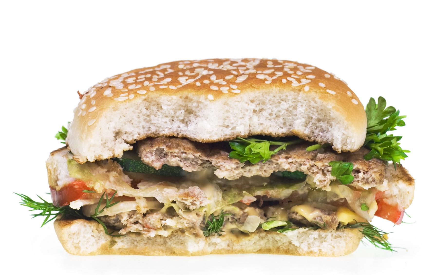 Half Eaten Hamburger, American, Hamburger, Unhealthy, Tasty, HQ Photo