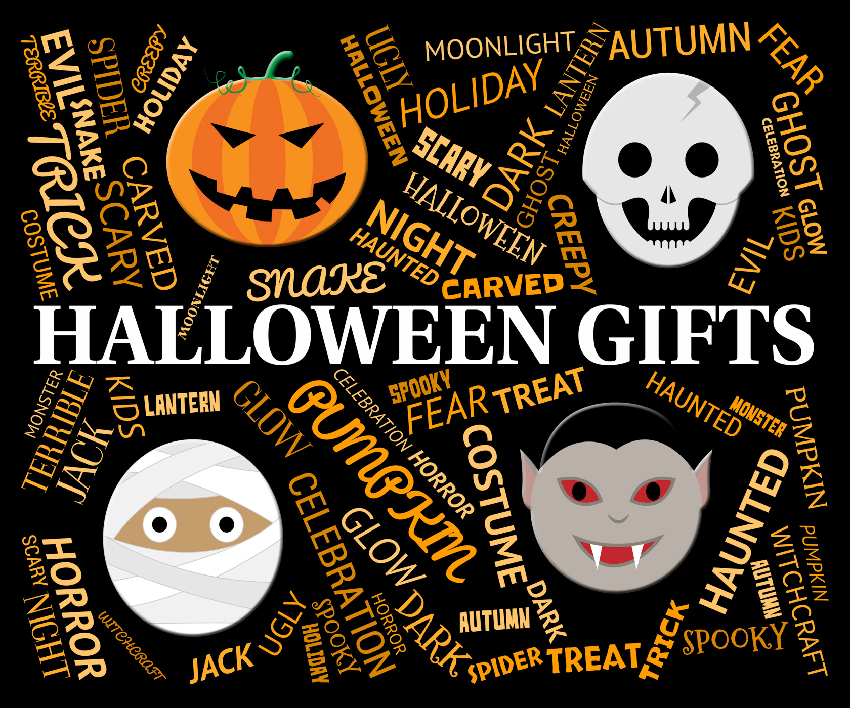 Halloween gifts indicates trick or treat and celebrate photo