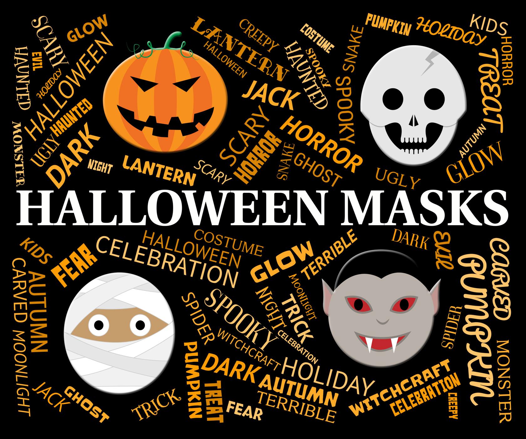 Halloween masks indicates trick or treat and celebration photo