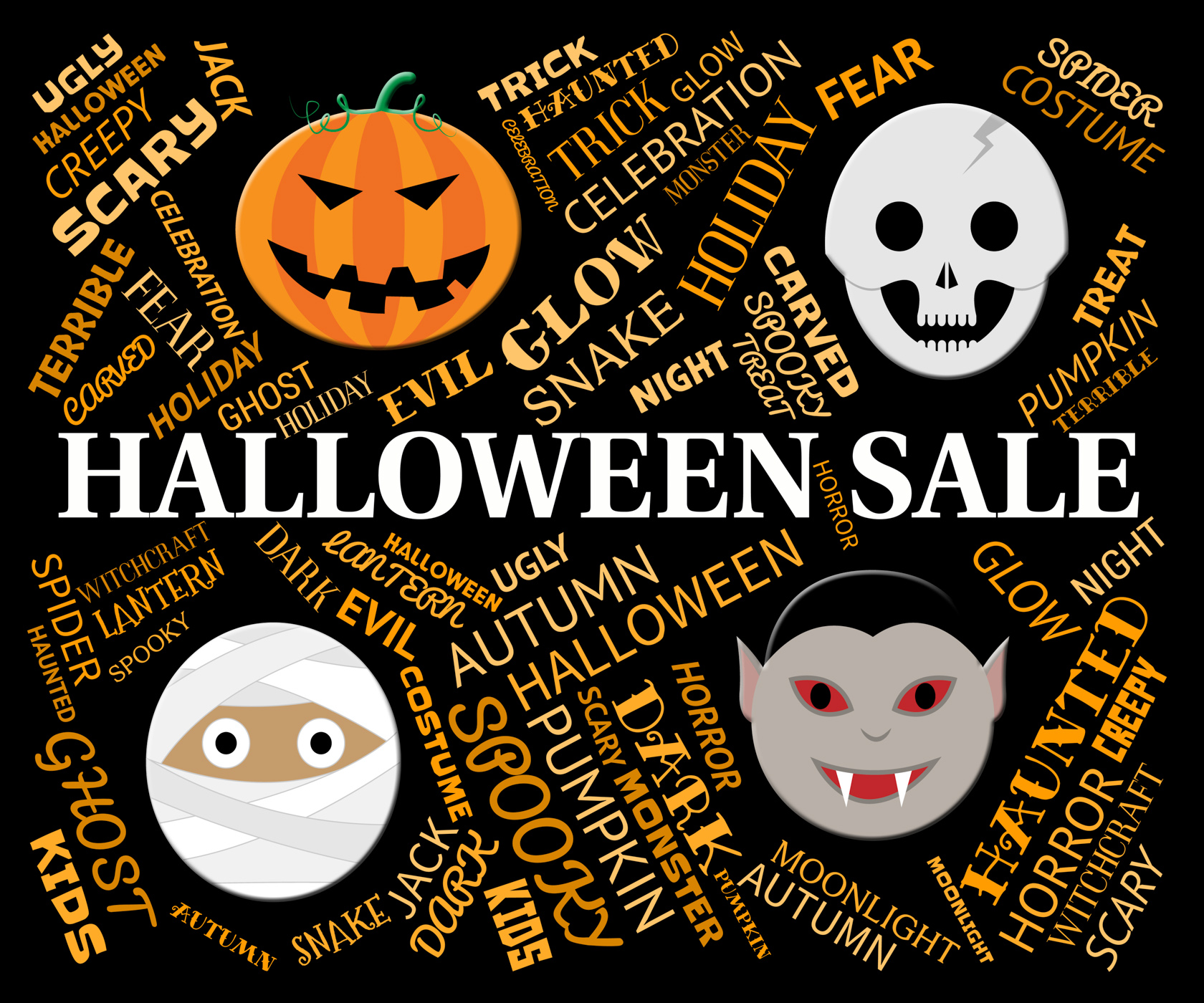 Halloween sale represents trick or treat and celebration photo