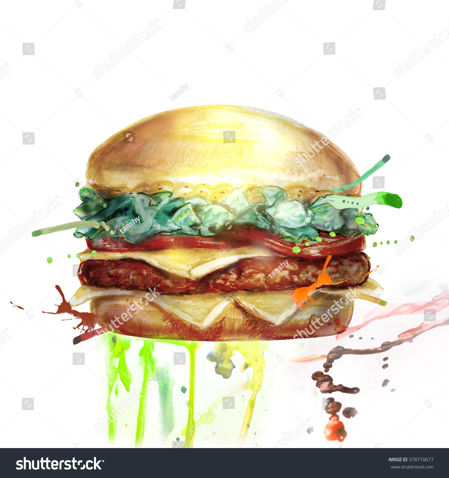 Hamburger painting illustration photo