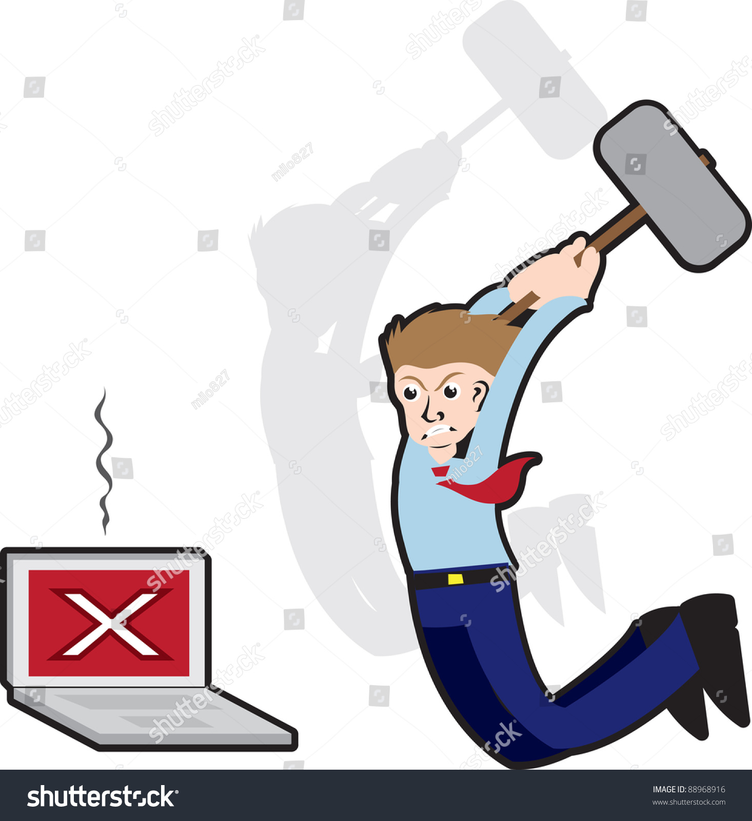 Worker Angry Broken Computer About Hit Stock Vector 88968916 ...