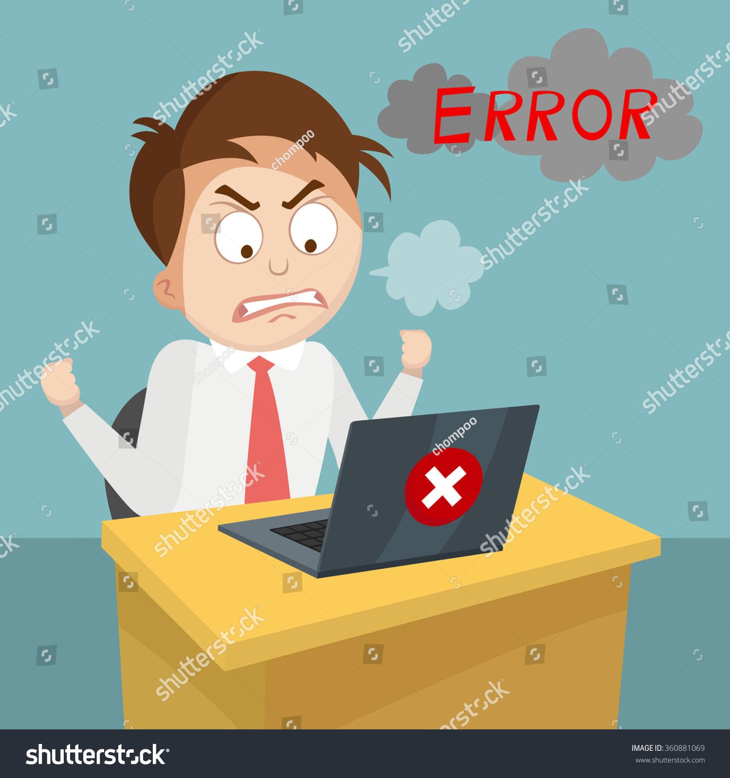 Cartoon Business Man Angry Laptop Computer Stock Vector (2018 ...