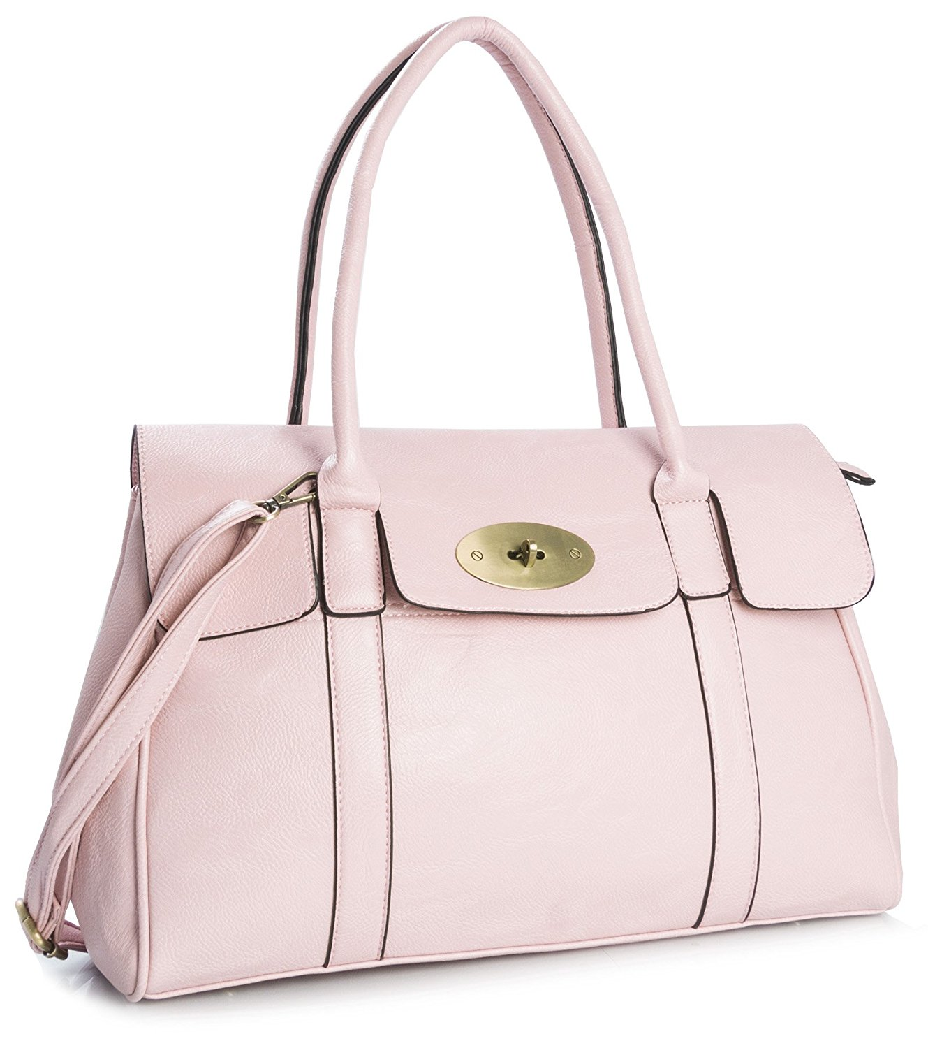 Big Handbag Shop Womens Faux Leather Designer Boutique Turnlock ...