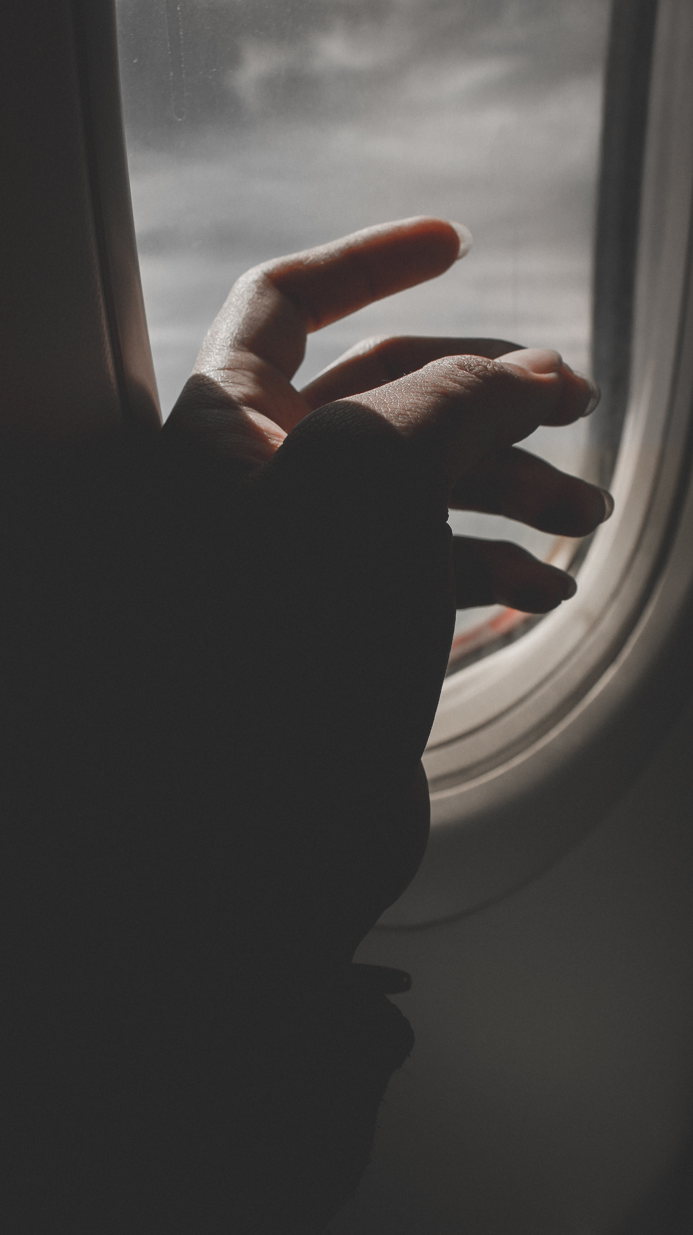 Hand By Airplane Window, Aeroplane, Aircraft, Airplane, Backlit, HQ Photo