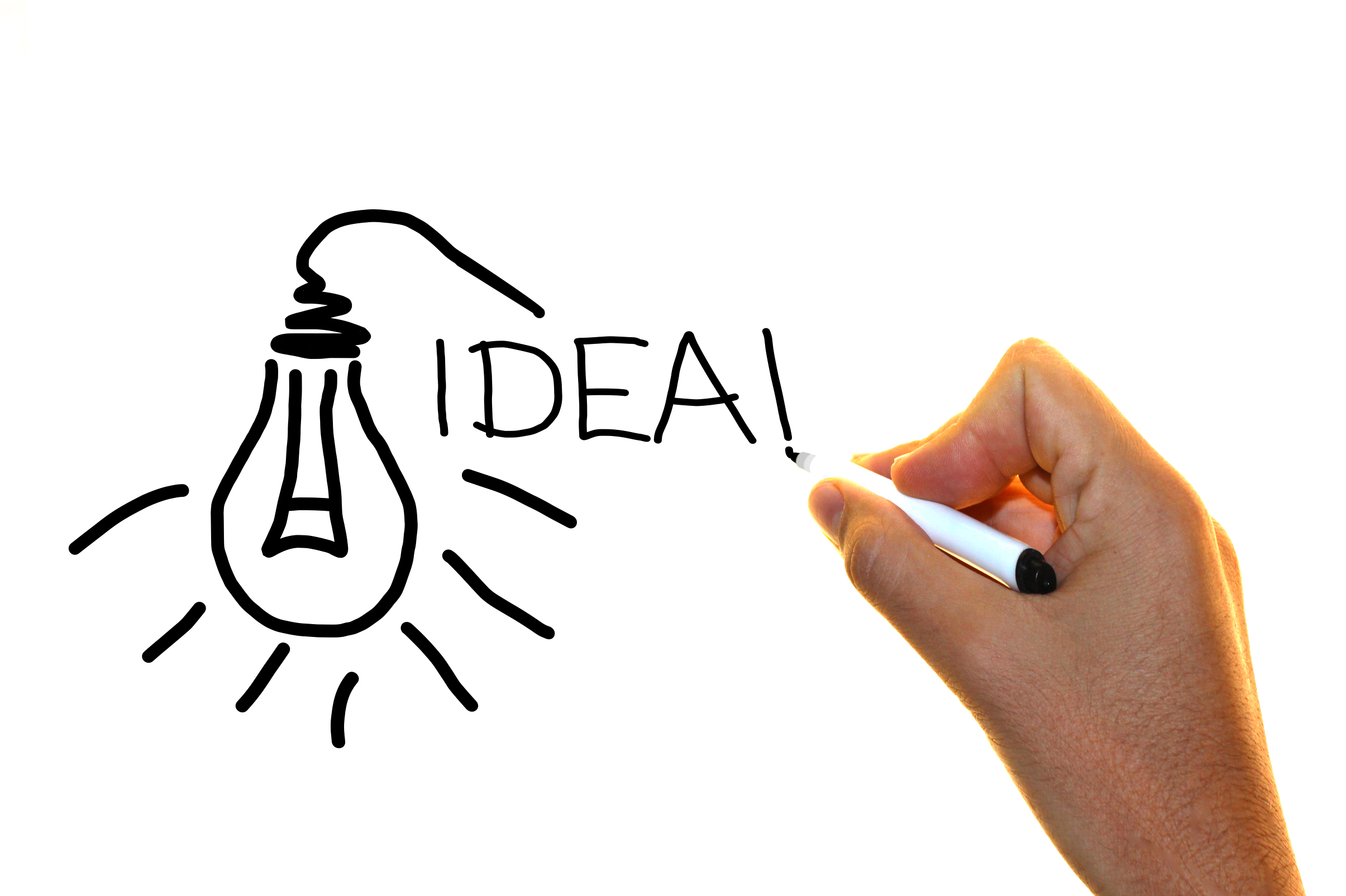 Hand drawing the word idea with lightbulb sketch photo