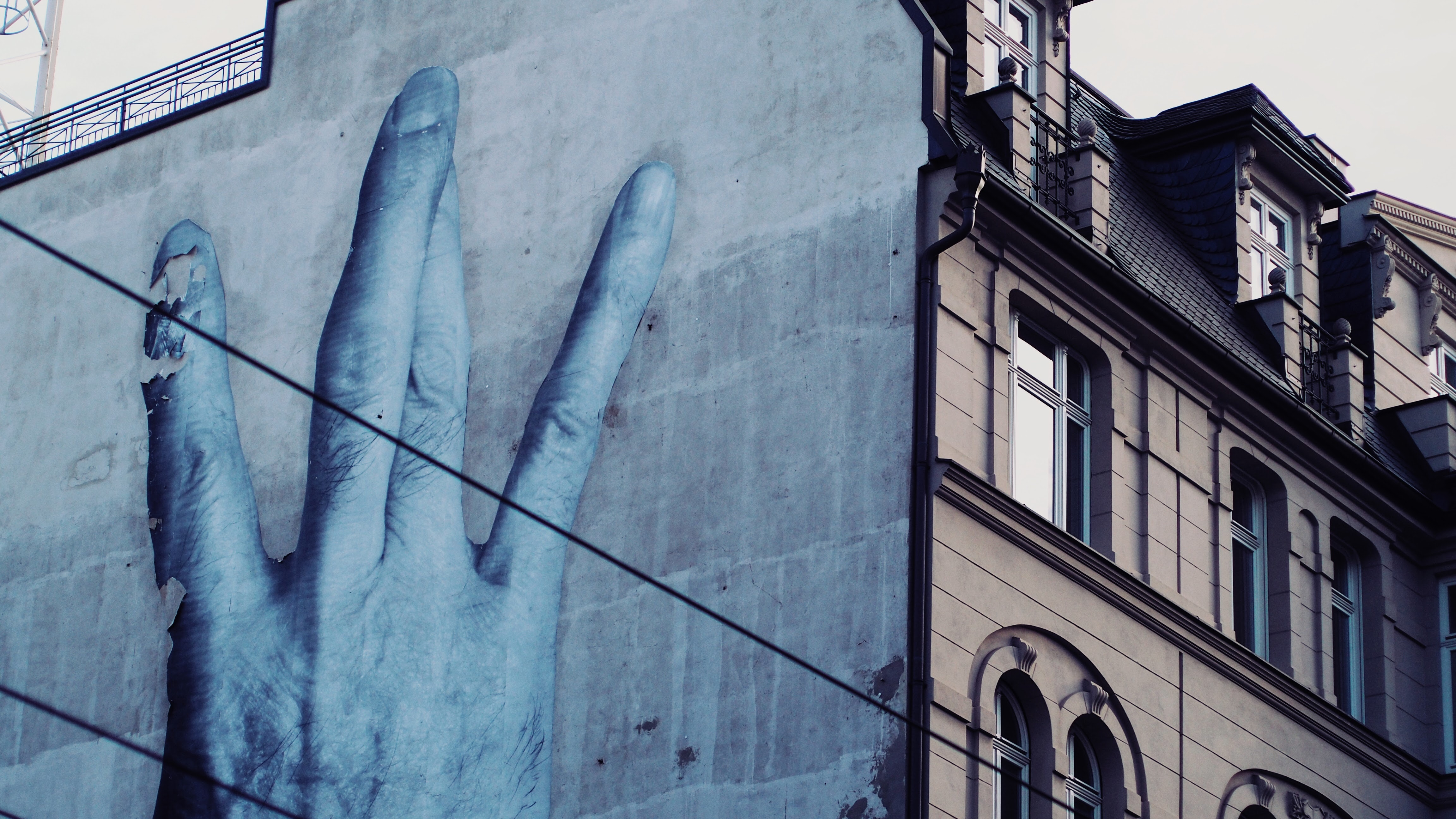 Hand painted on building photo