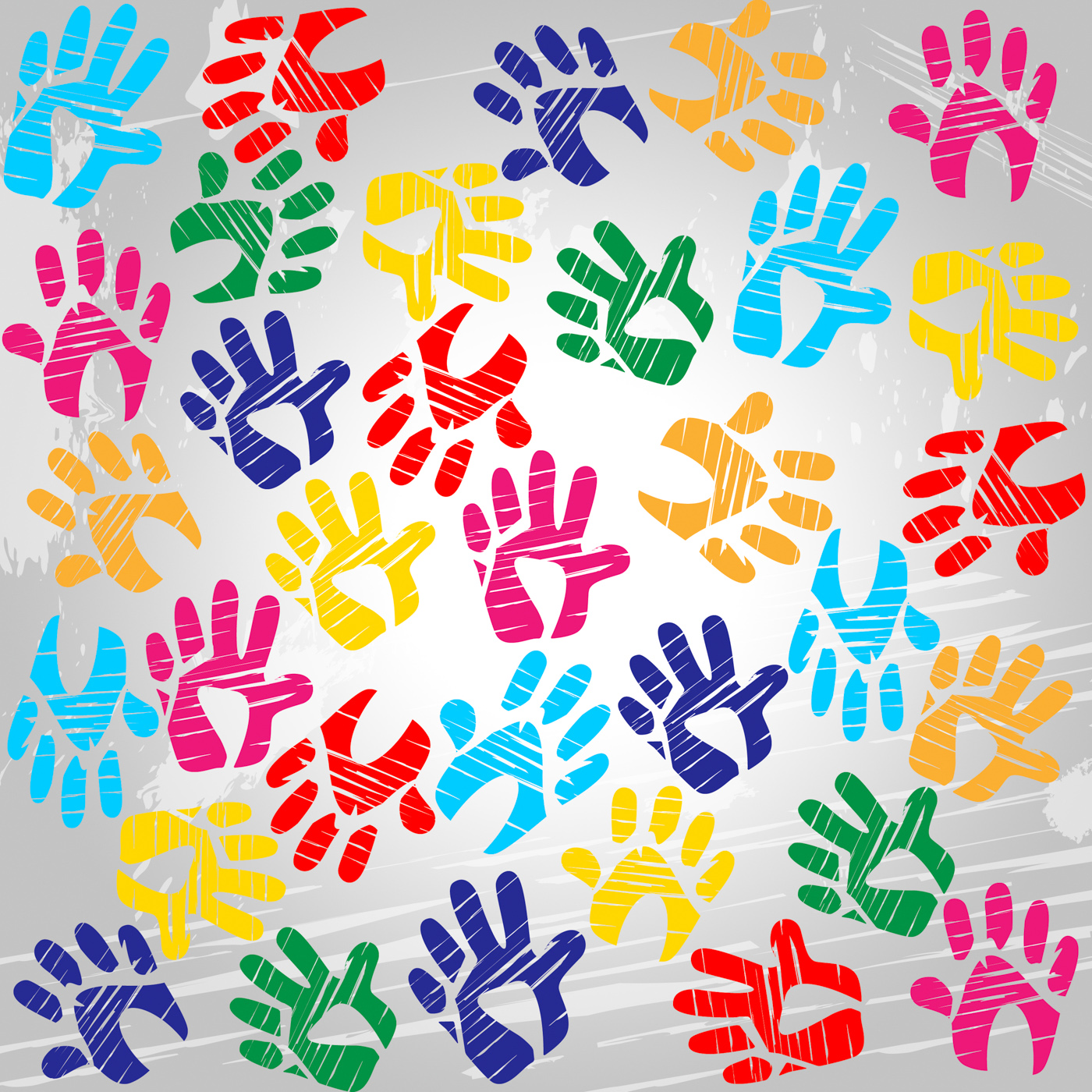 Handprints colourful means drawing colors and painted photo