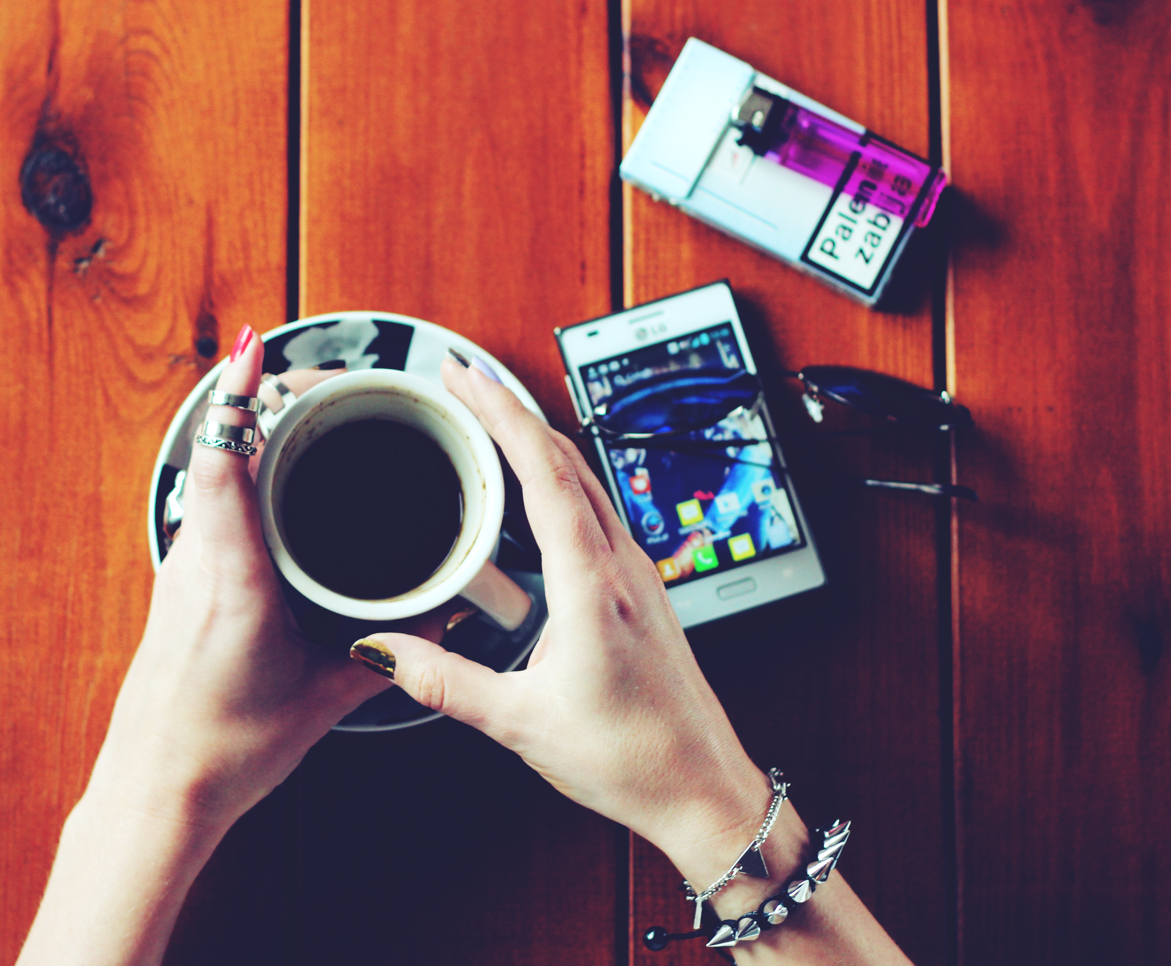 Hands with cup of coffee, Adult, Jewelry, Telephone, Technology, HQ Photo