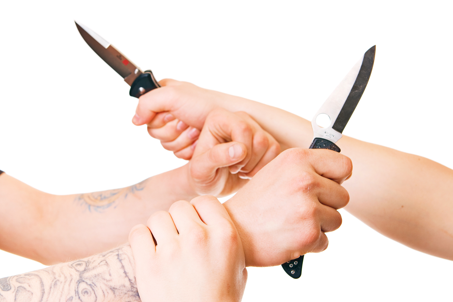 Hands with knives photo