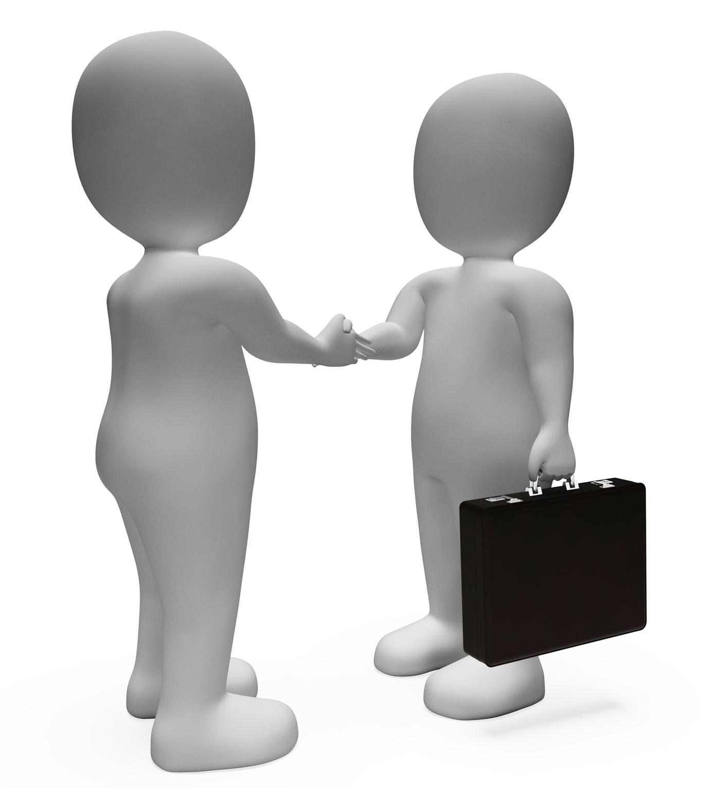 Handshake Businessmen Shows Deal Illustration And Contract 3d Renderin, Partnership, Handshake, Meeting, Men, HQ Photo