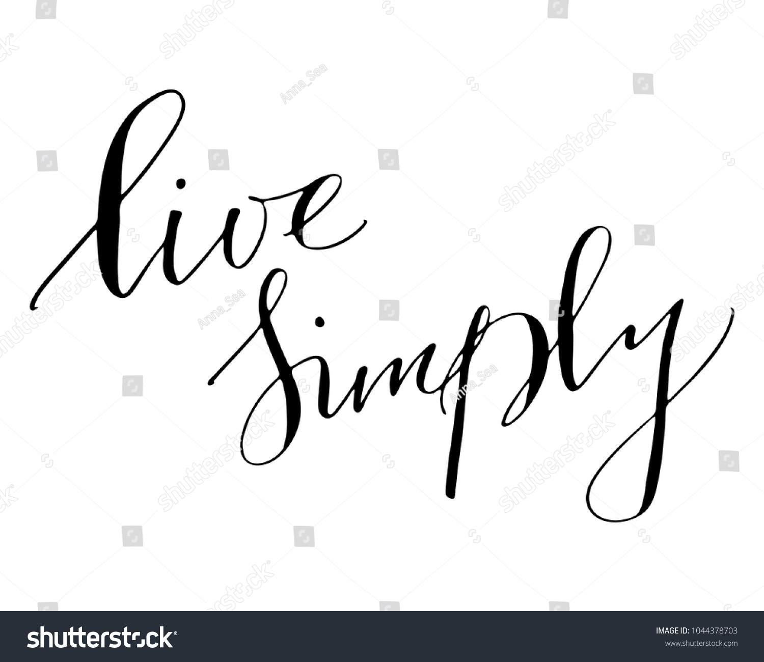 Phrase Handwritten Text Live Simply Lettering Stock Illustration ...
