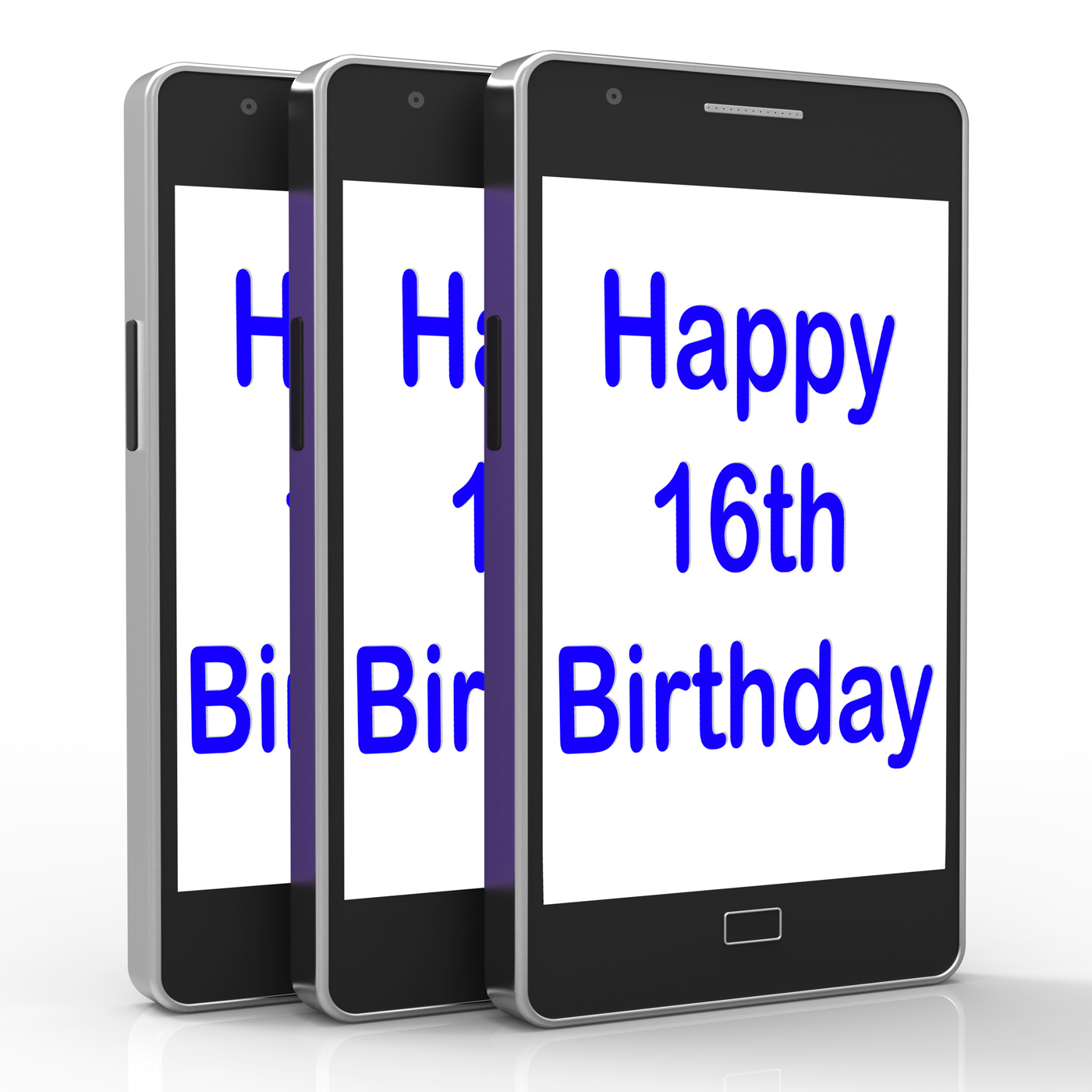 Free Photo Happy 16th Birthday On Phone Means Sixteenth Mobile