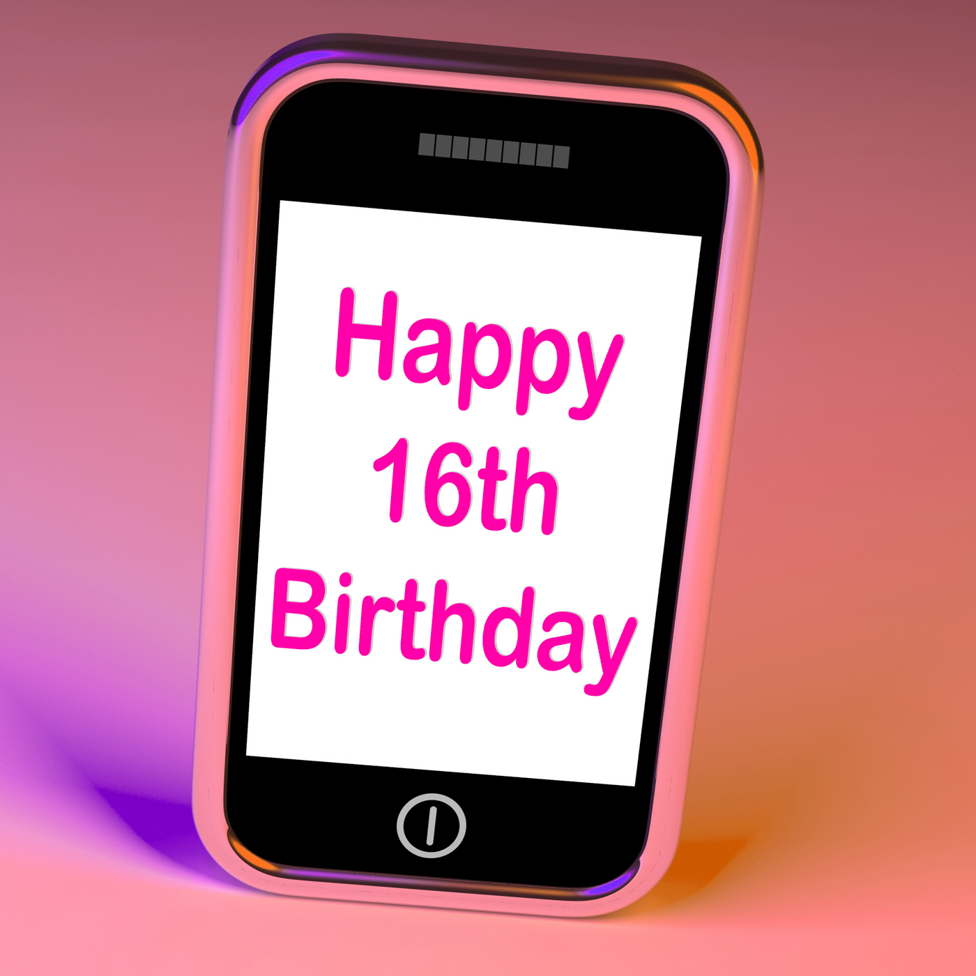 Free Photo Happy 16th Birthday On Phone Means Sixteenth Phone