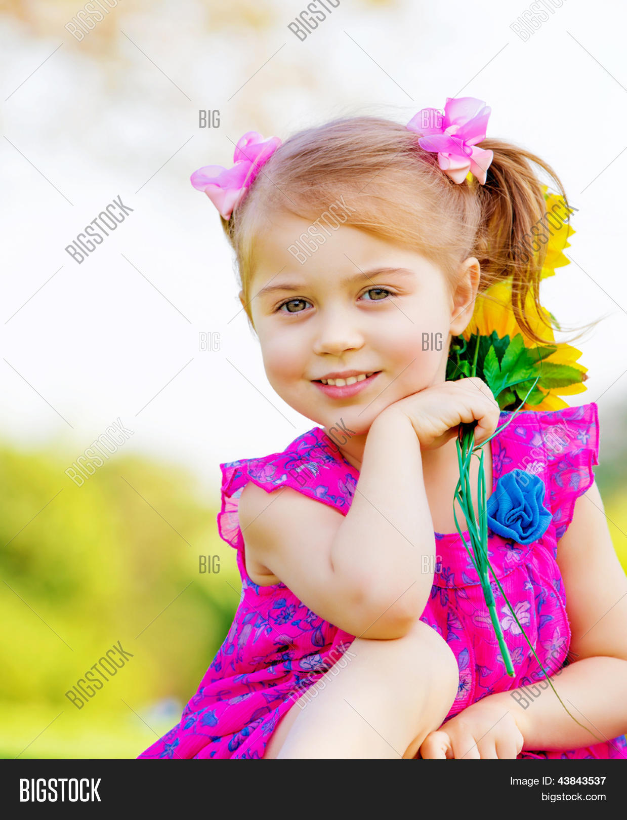 Happy Baby Girl Playing Outdoor, Image & Photo | Bigstock