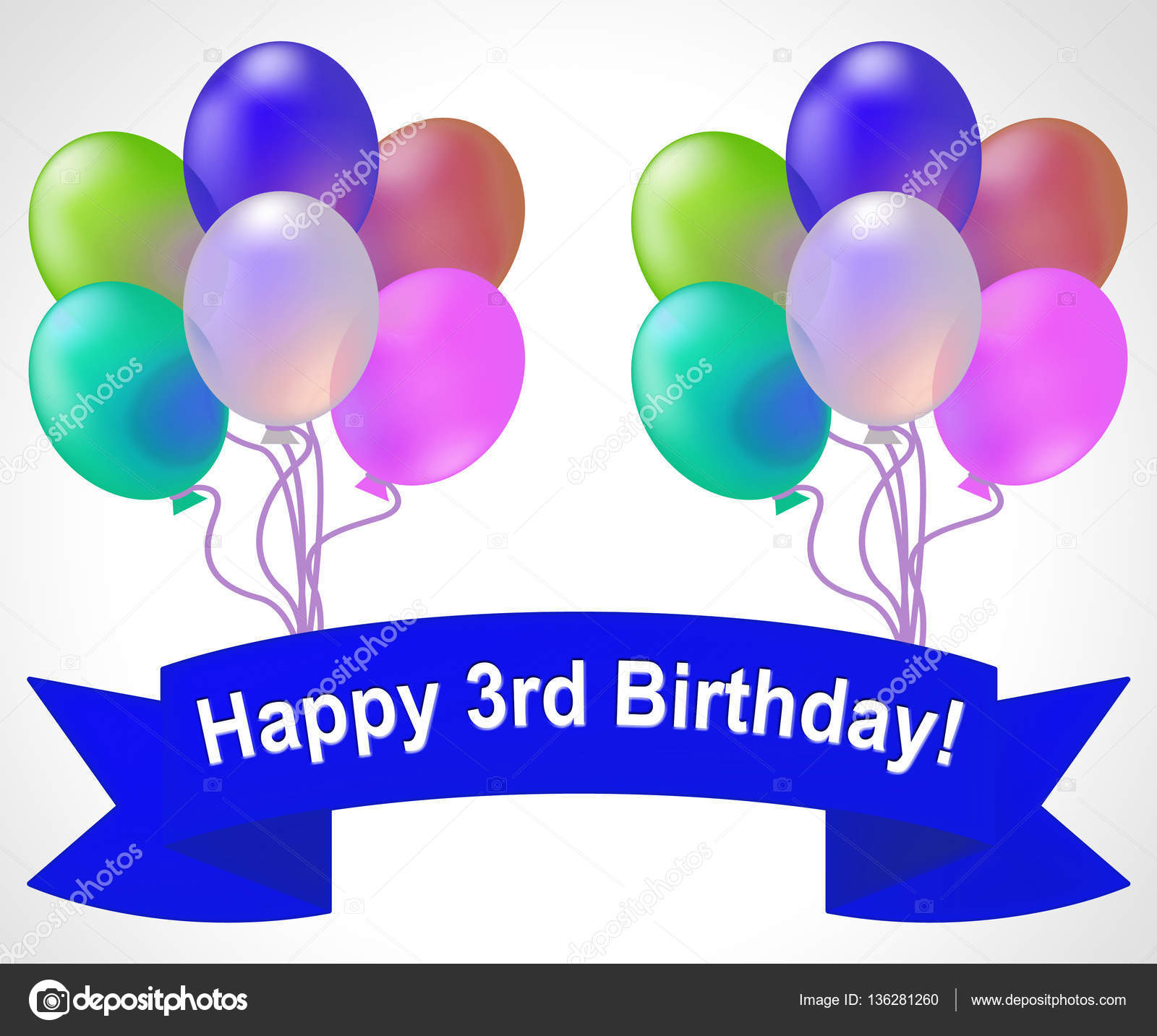 Happy Third Birthday Means 3rd Party Celebration 3d Illustration ...