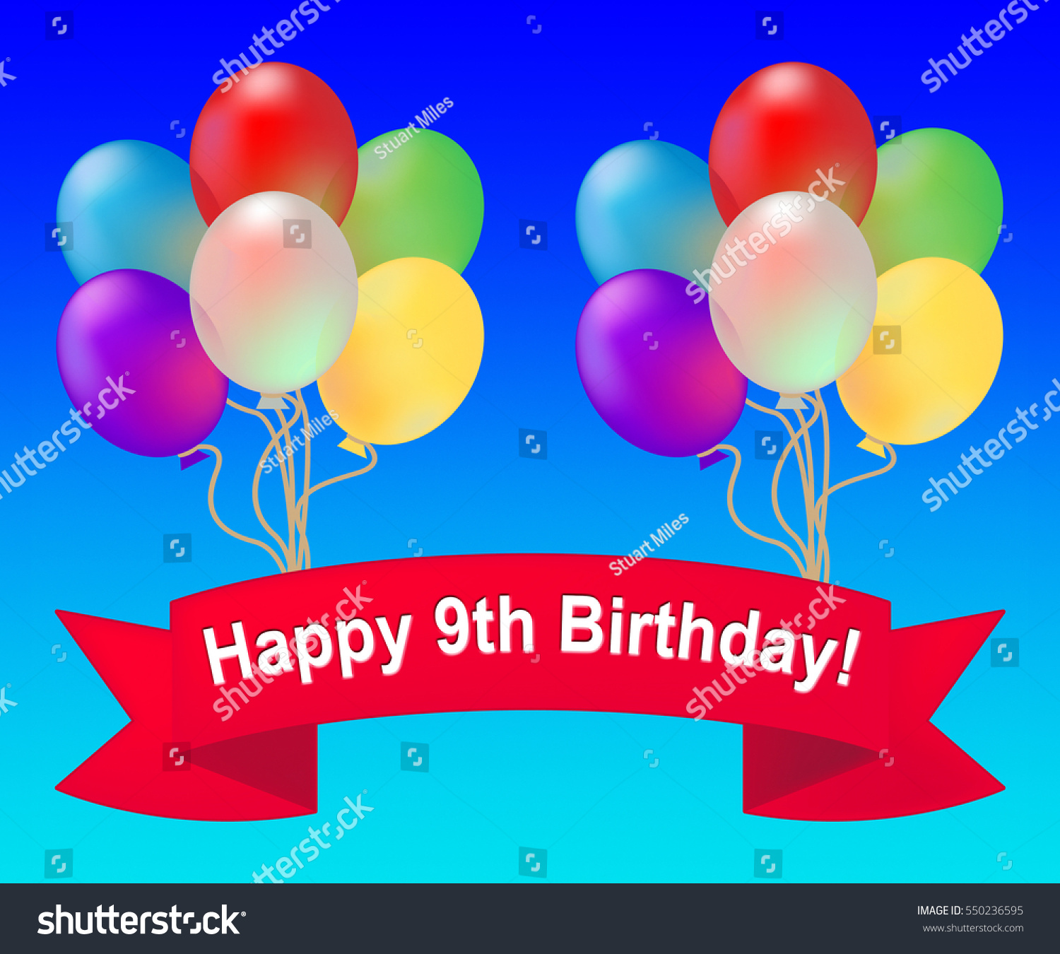 Happy Ninth Birthday Balloons Means 9th Stock Illustration 550236595 ...