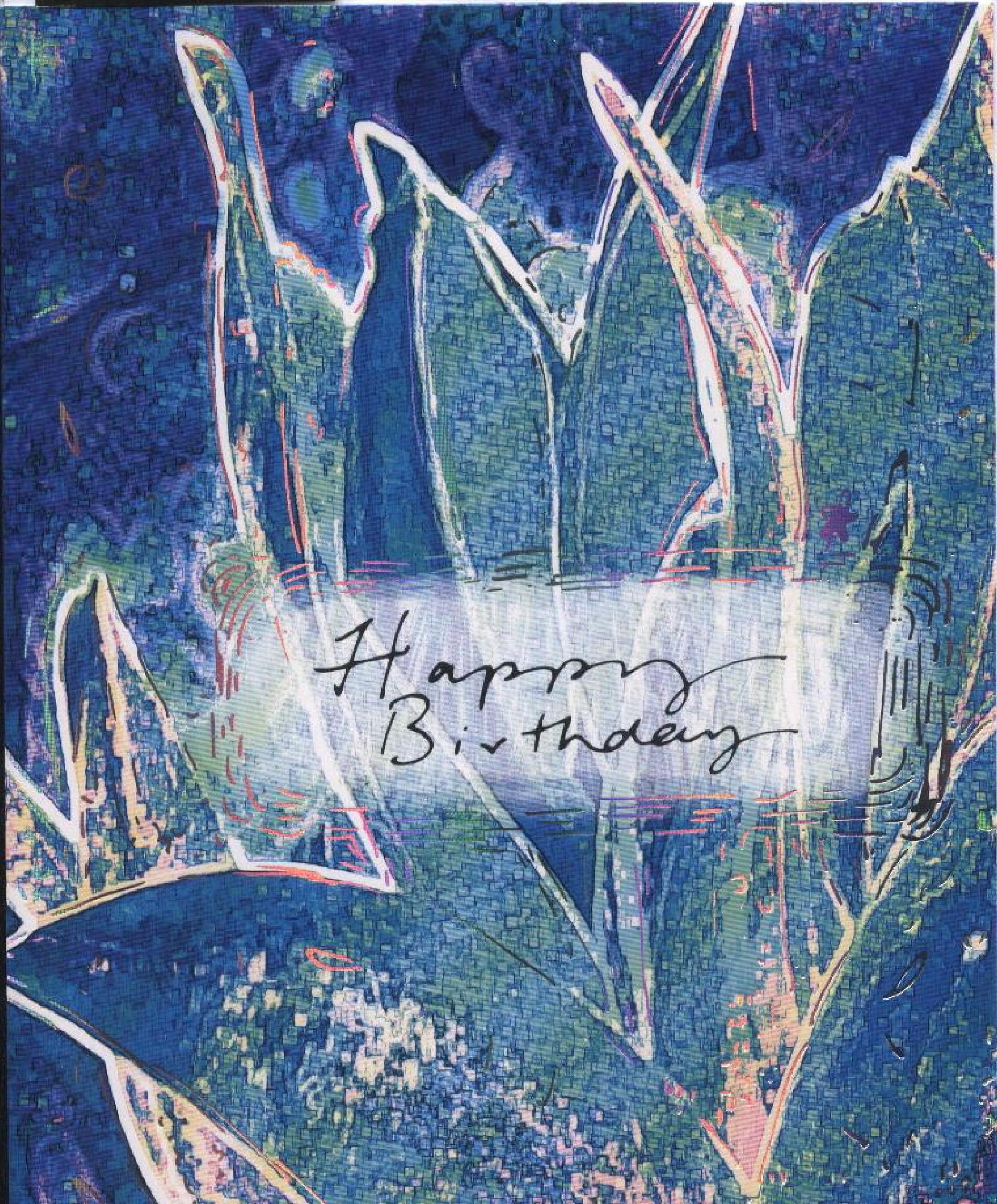 Happy Birthday Card Greeting Green Painting HQ Photo