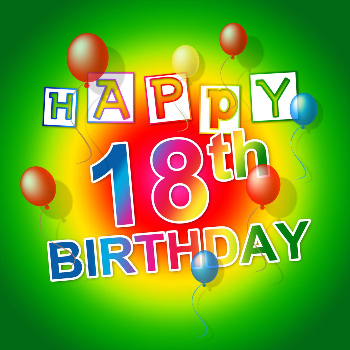 Happy birthday indicates 18th celebrate and eighteenth photo