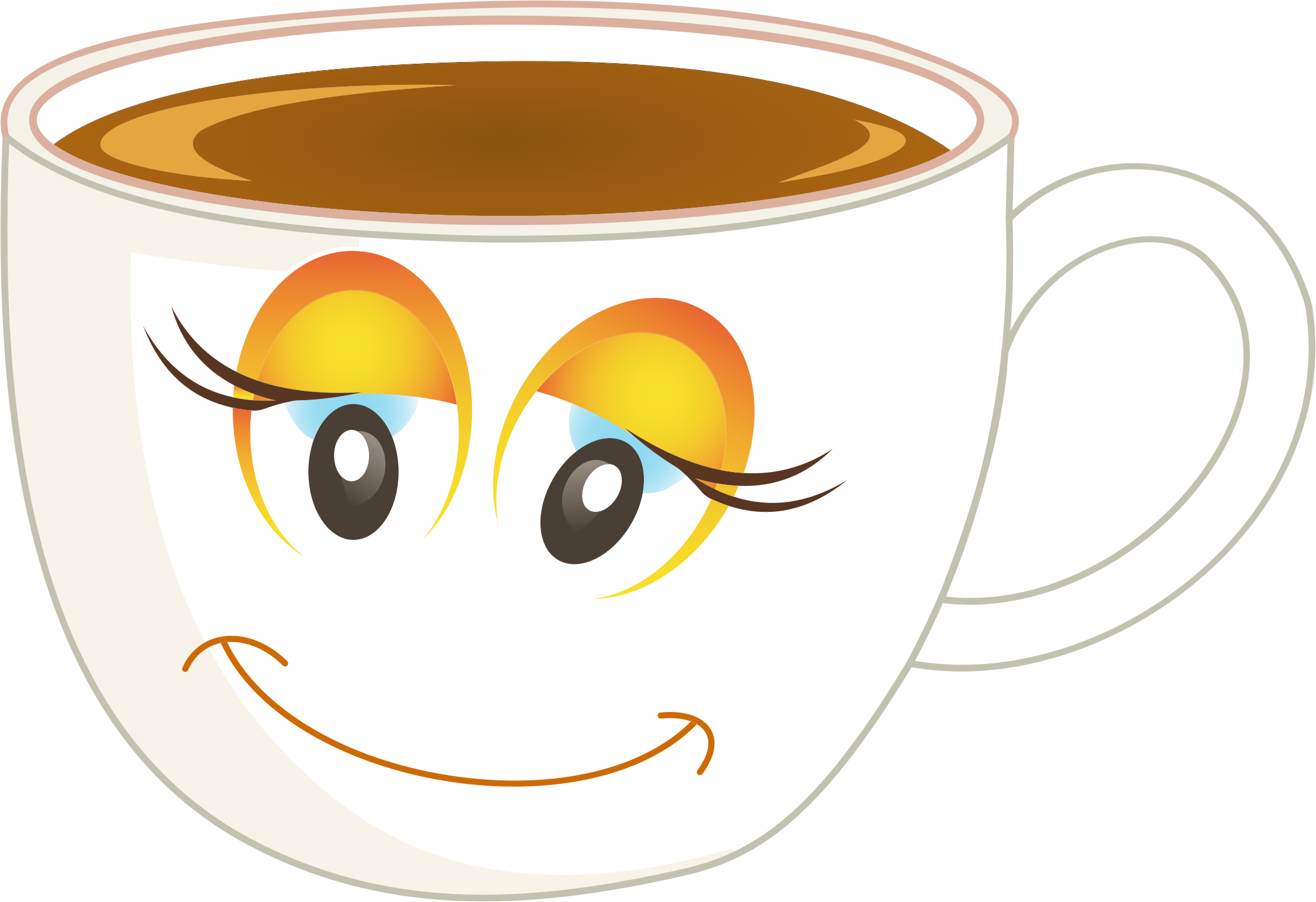 Anthropomorphic Happy Female Cup Of Coffee Or Tea Redrawn Icons PNG ...