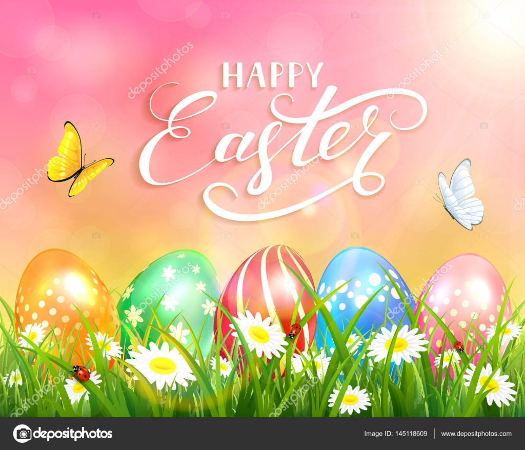 Happy Easter on pink background and eggs on grass — Stock Vector ...