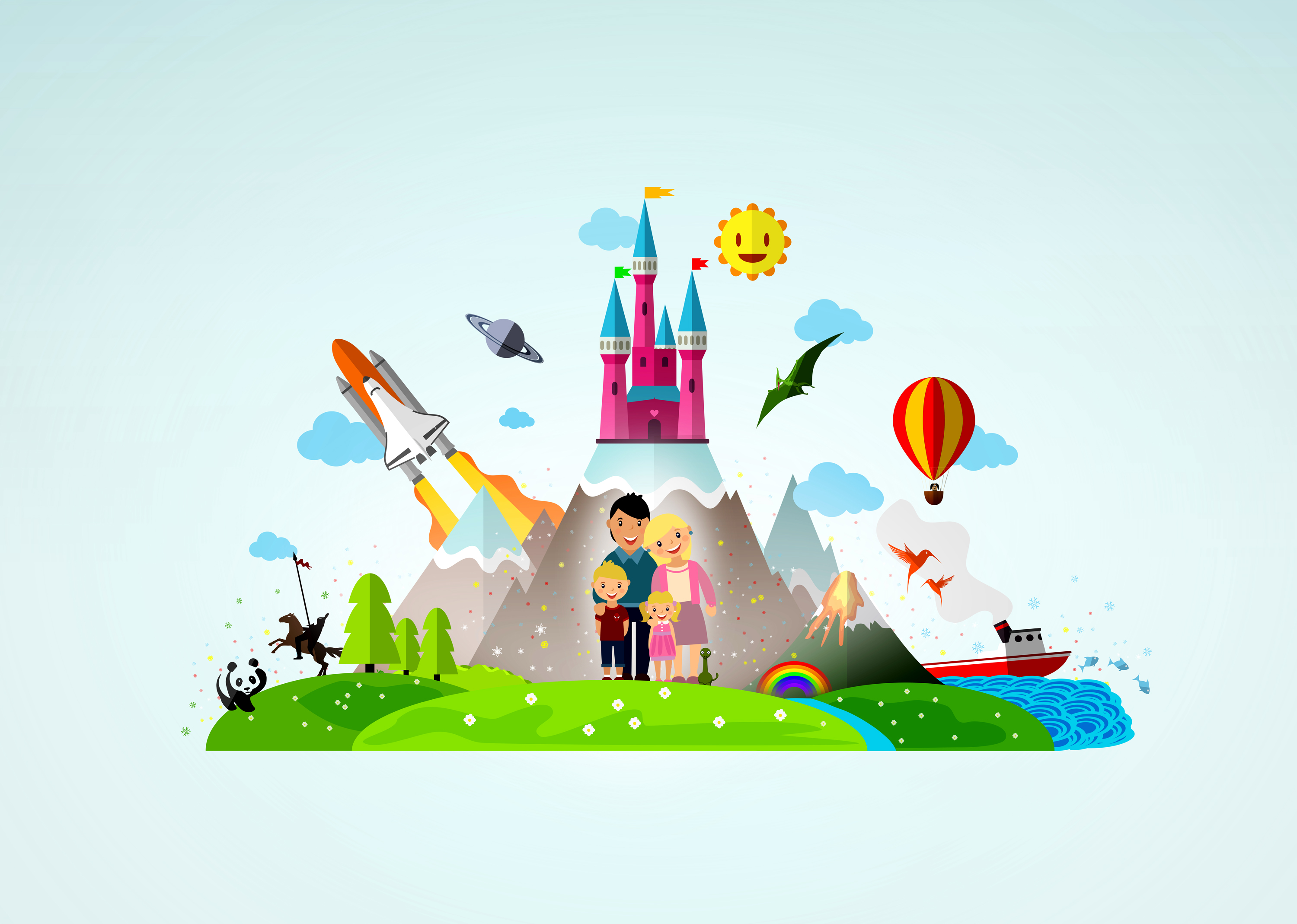 Happy family of four in fantasy land photo