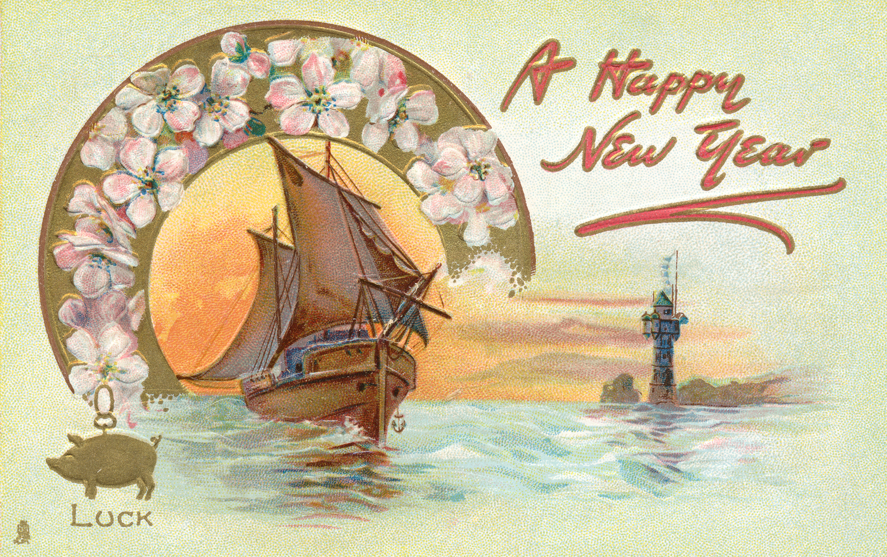 Happy new year card - circa 1908 photo
