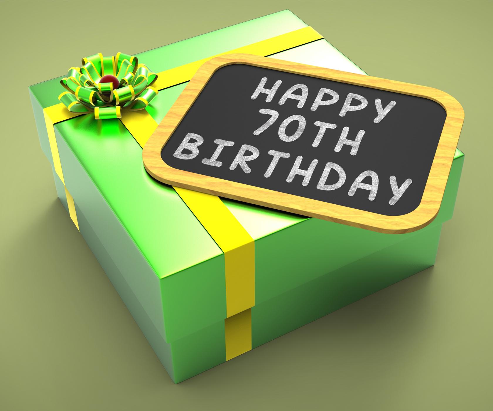 Happy seventieth birthday present means grandfather birthday or annive photo
