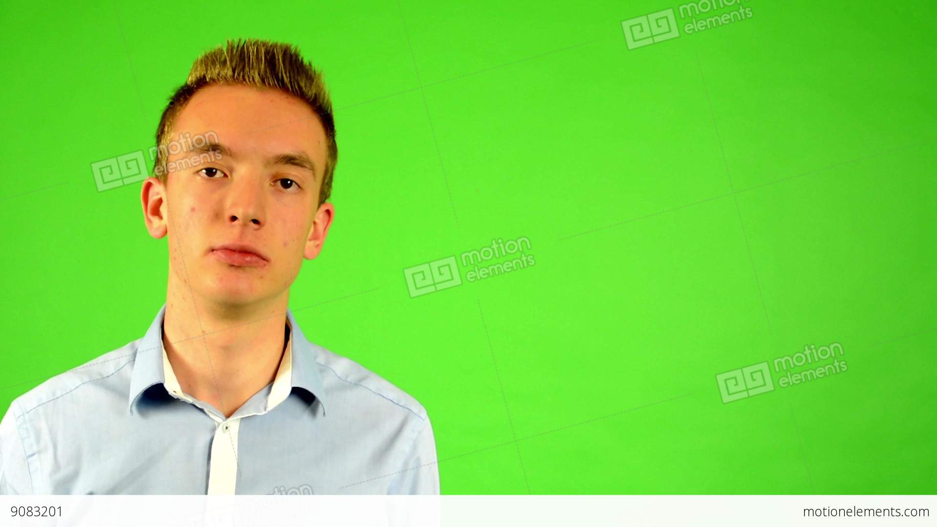 Man - Green Screen - Portrait - Young Man Smiles (man Is Happy ...