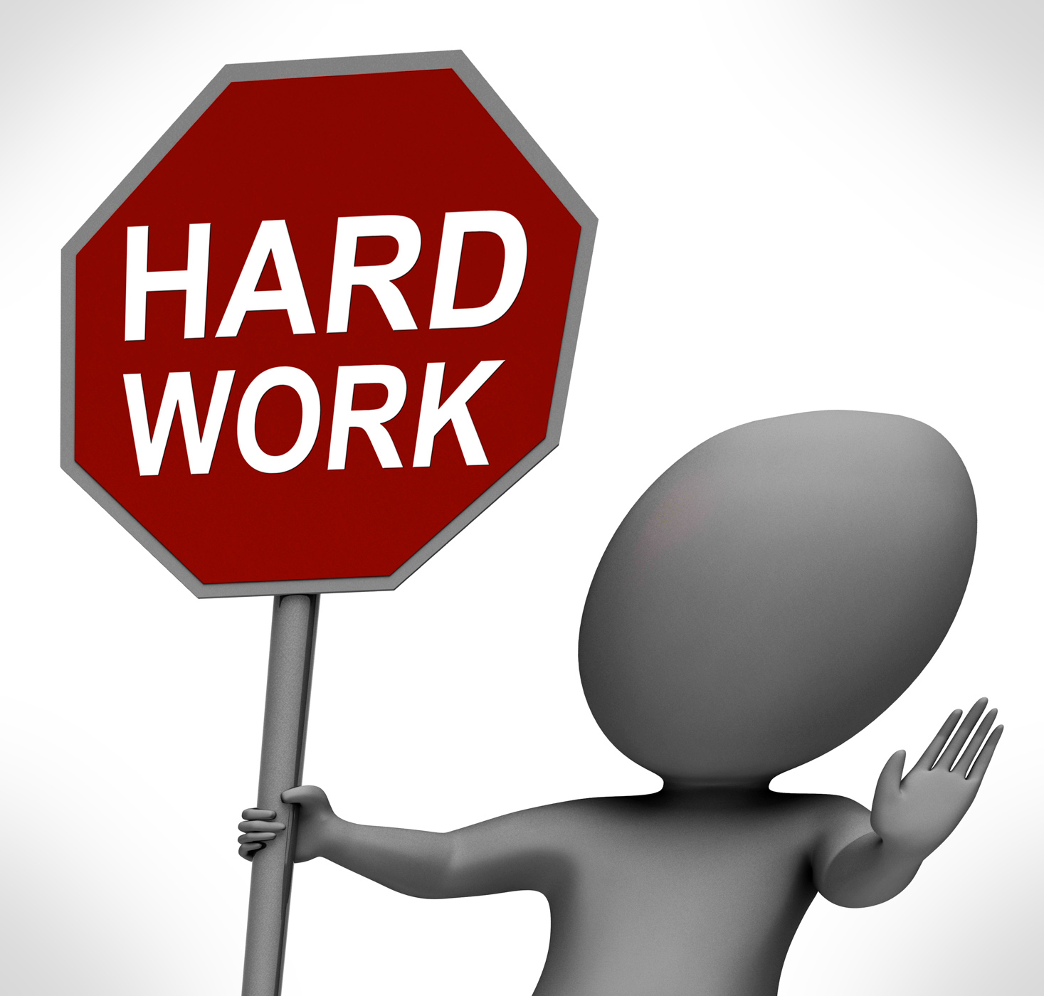 Hard work red stop sign shows stopping difficult working labour photo