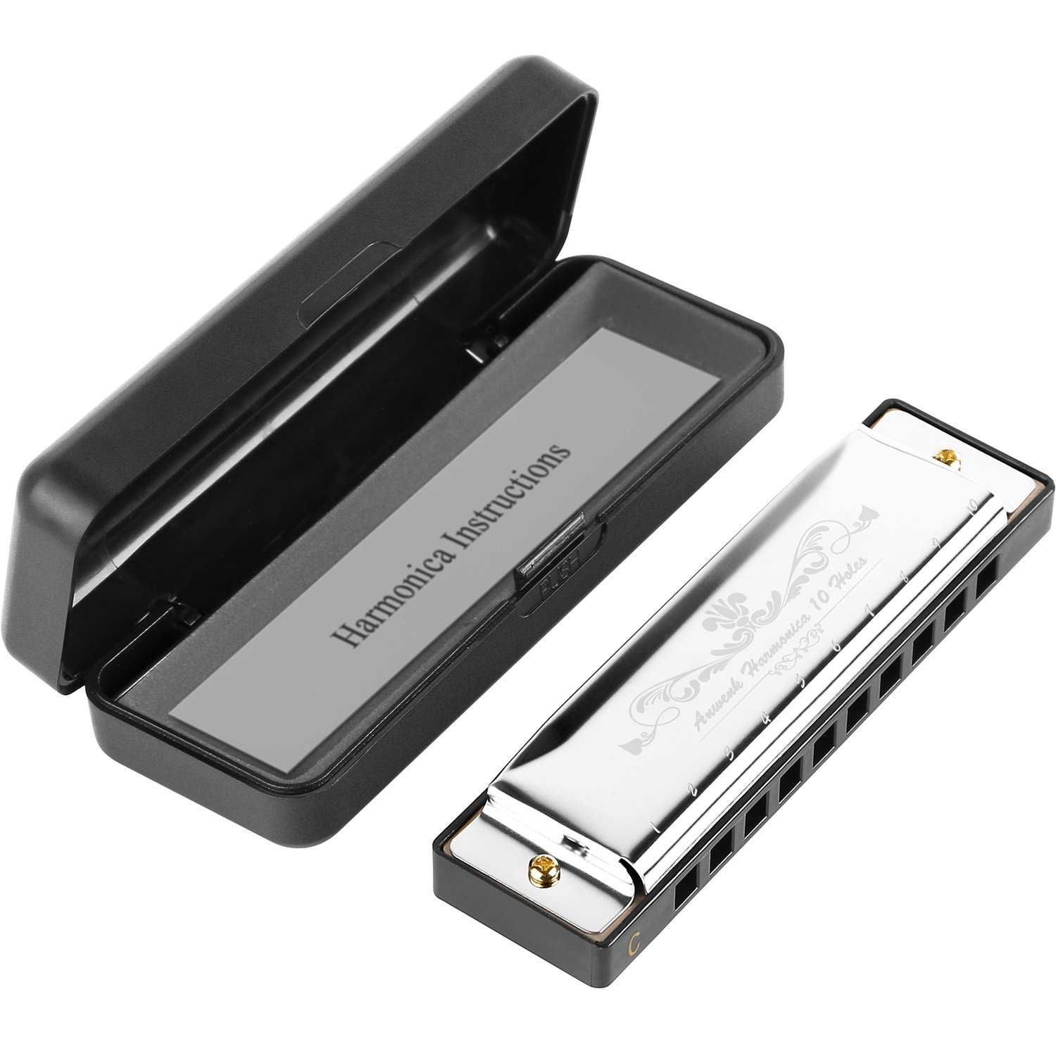 Amazon.com: Anwenk Harmonica Key of C 10 Hole 20 Tone Diatonic ...