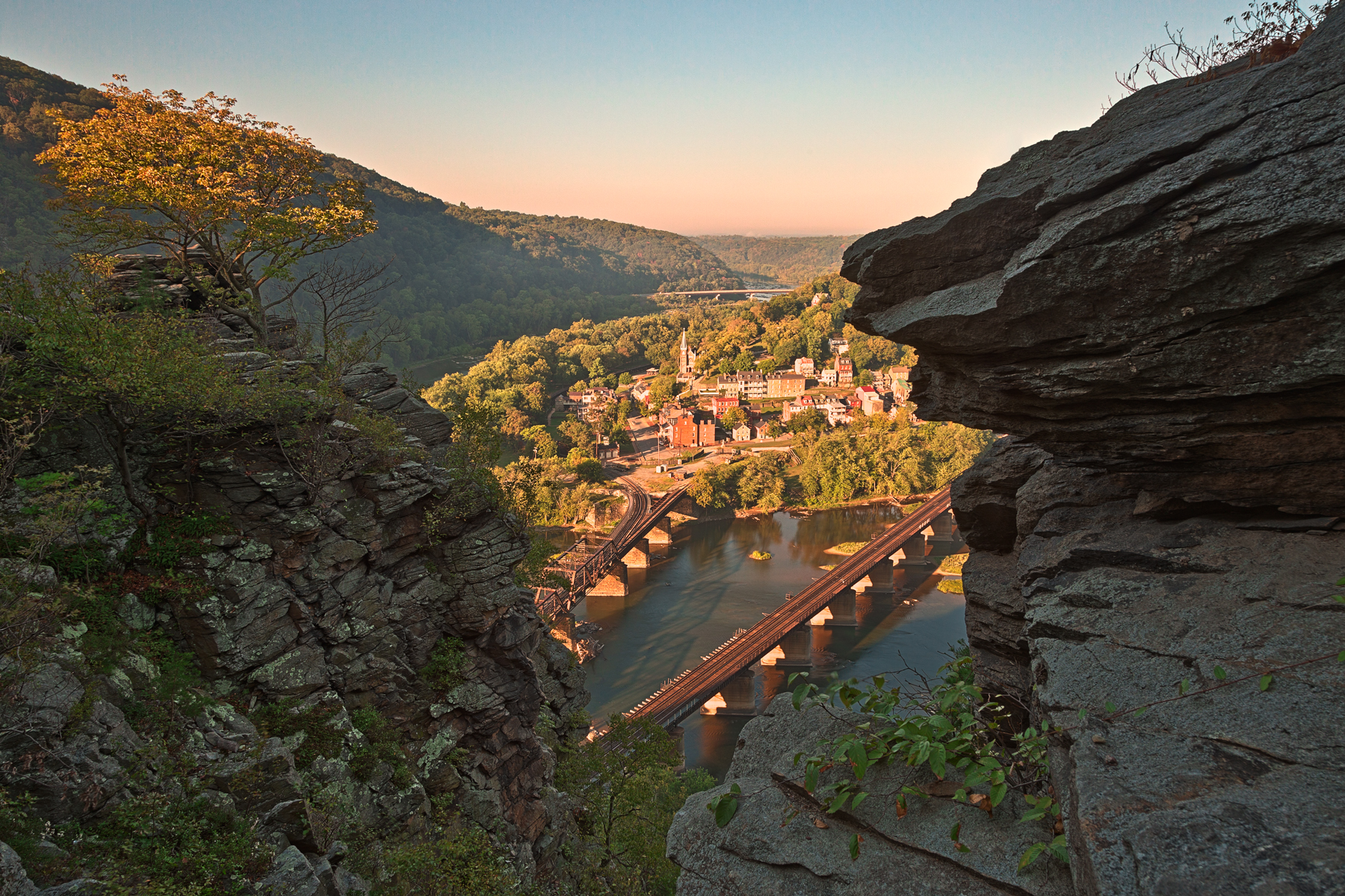 Harpers Ferry Overlook - HDR, America, Railroad, States, Spectacular, HQ Photo