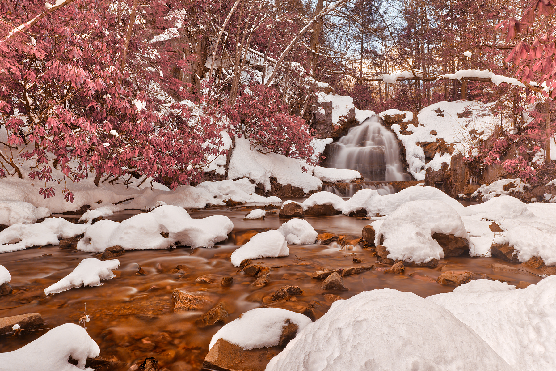Hawk falls winter stream - pink fantasy hdr photo