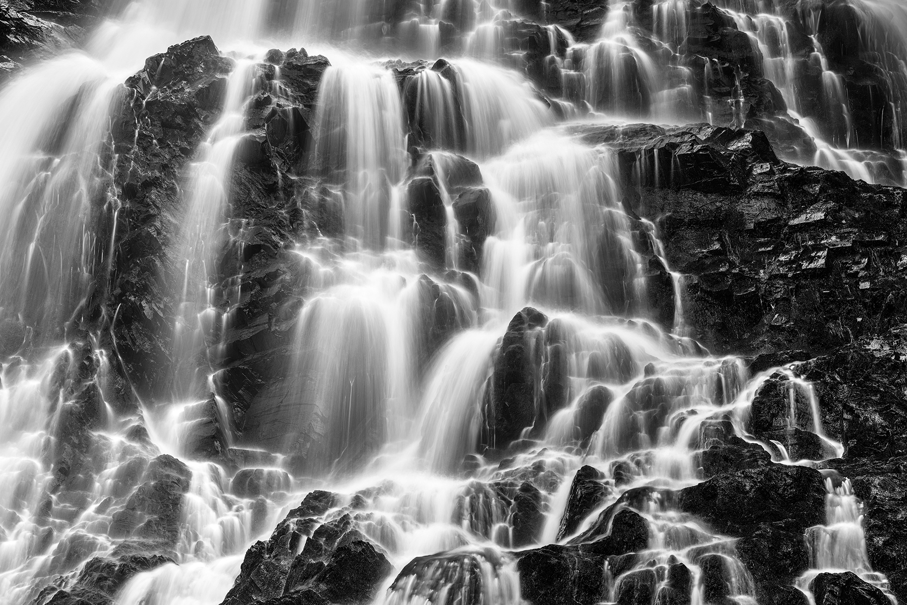 Hays rugged falls - black & white photo