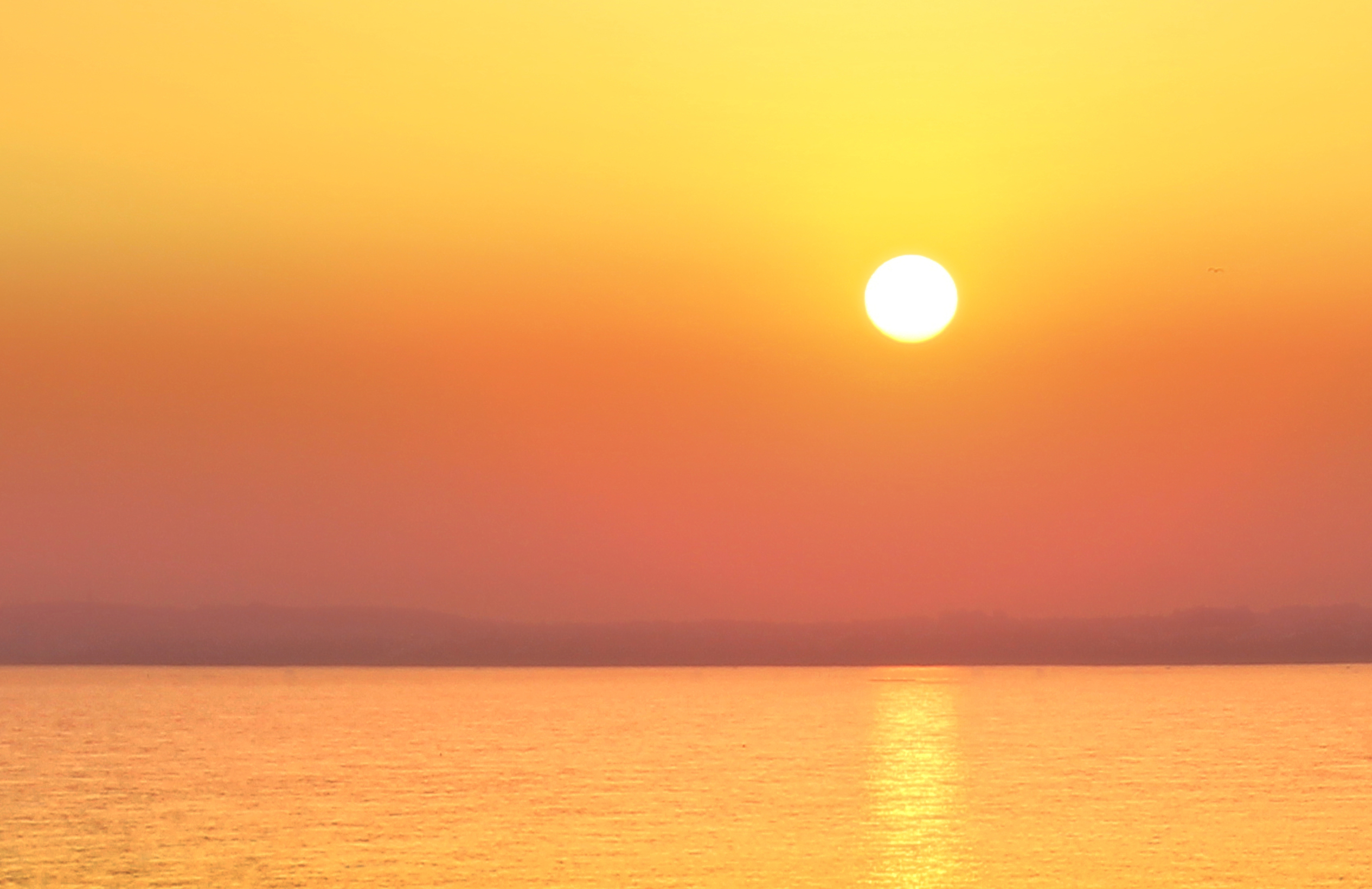 Hazy sunset over a calm sea - summer holidays photo