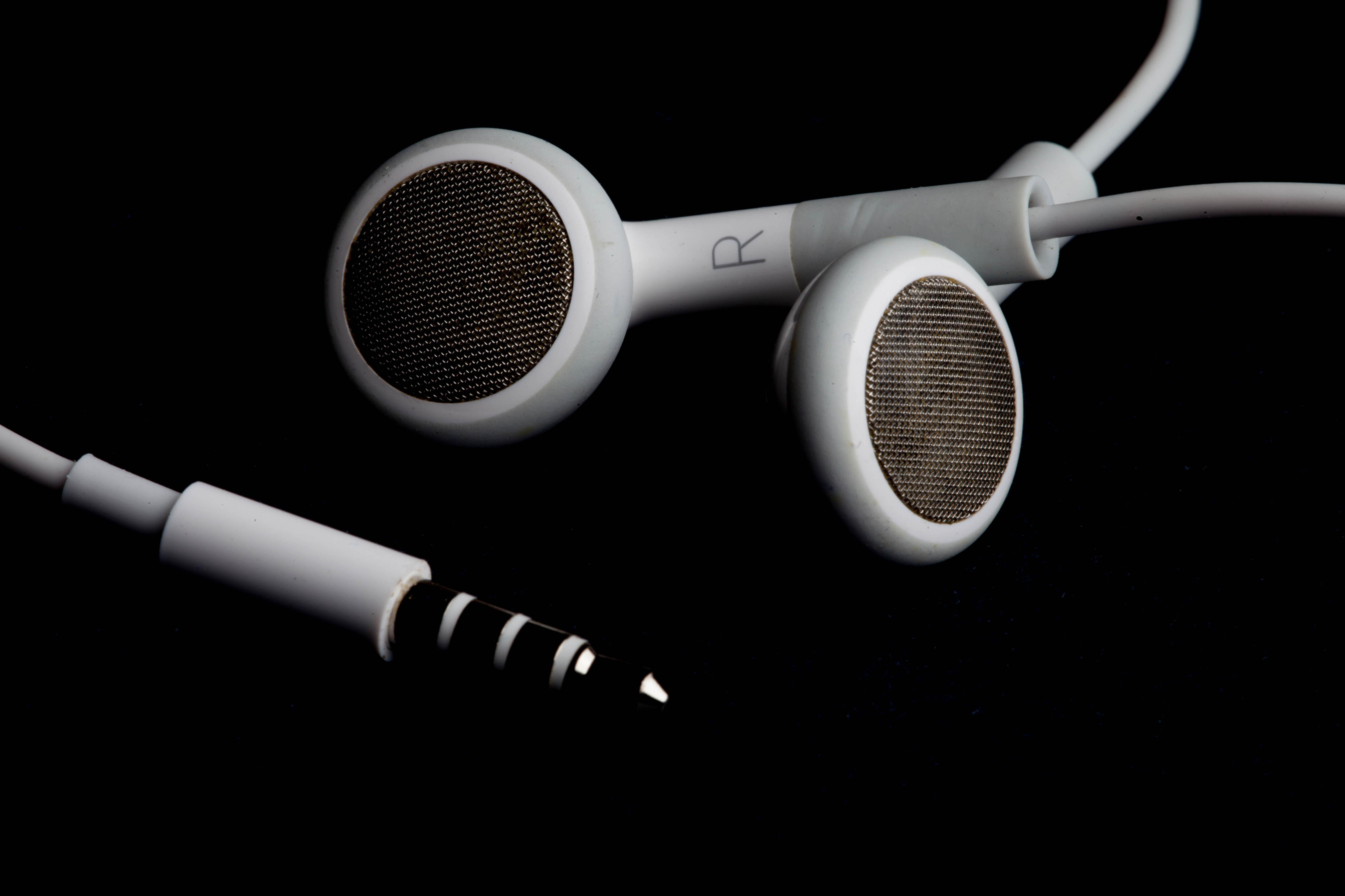 Headphones on black, Black, Headphones, Isolated, Music, HQ Photo