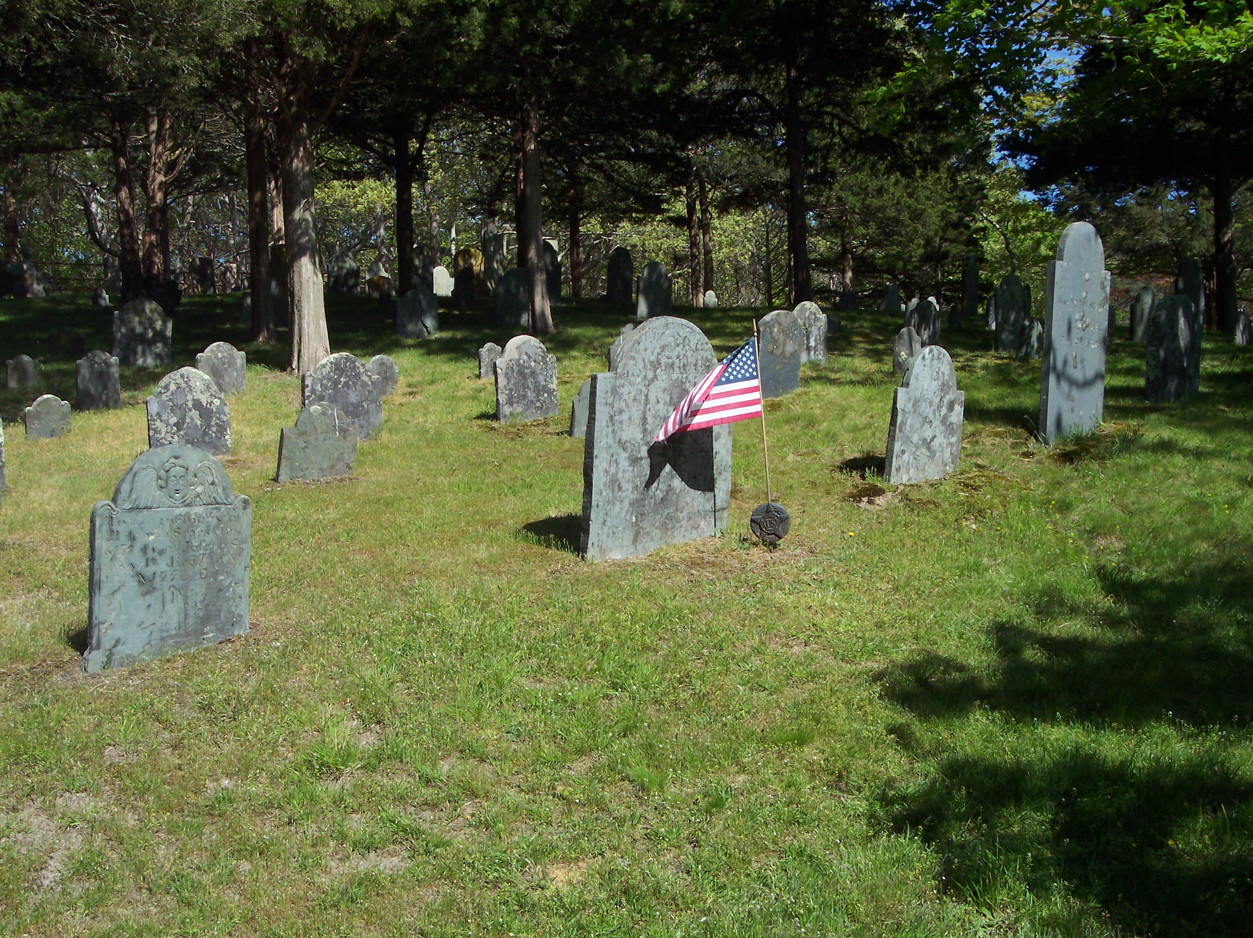 Headstone with Flag, American, Cemetery, Flag, Grass, HQ Photo