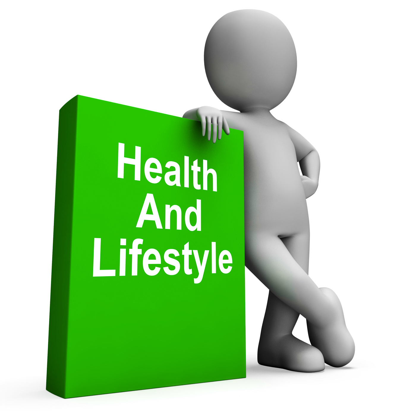 Health and lifestyle book with character shows healthy living photo